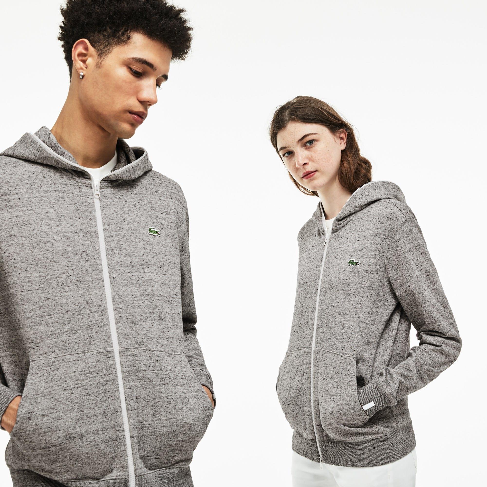 Sweatshirt com fecho de correr e capuz unissexo Lacoste LIVE em algodão unicolor
