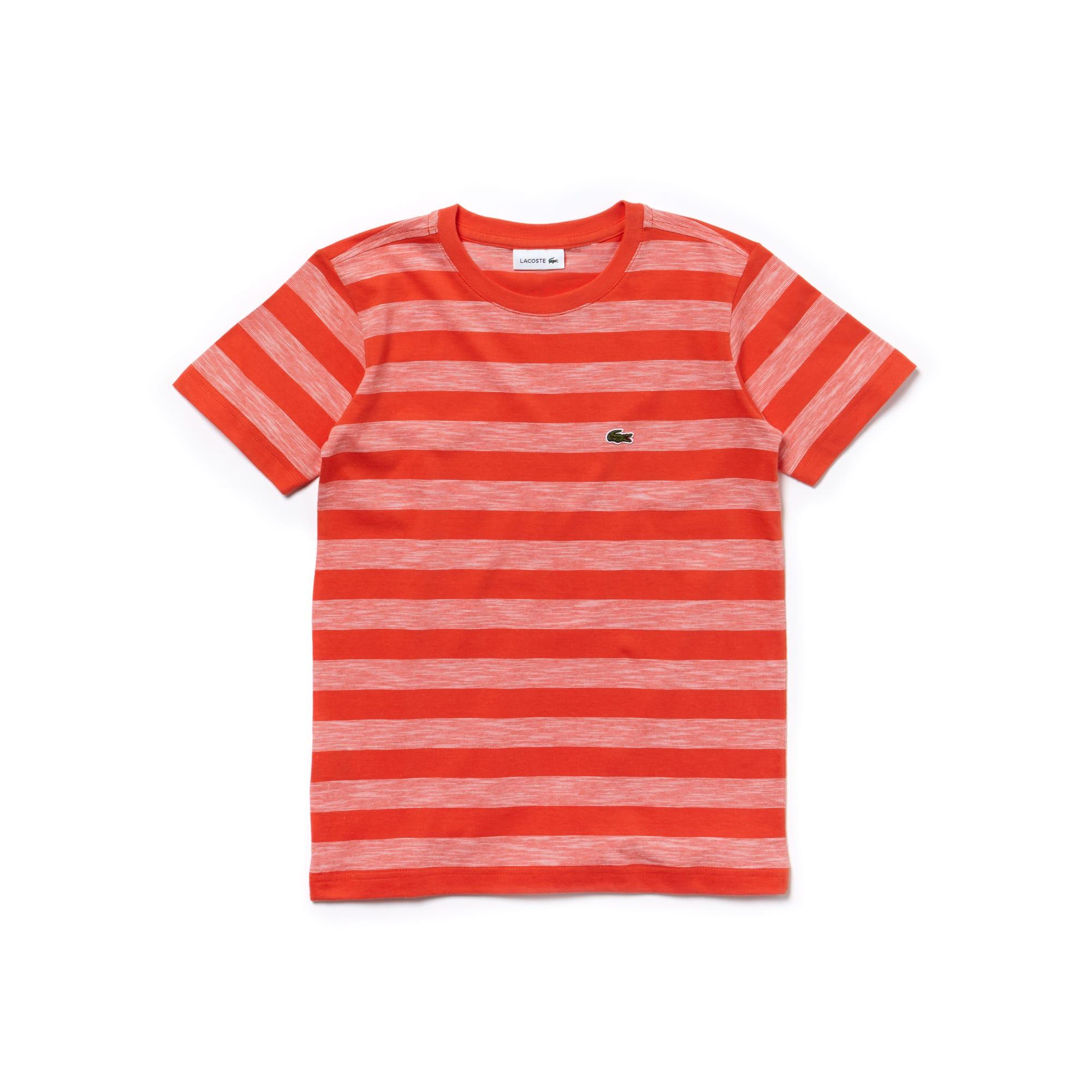 T-shirt Menino decote redondo em jersey de algodão às riscas
