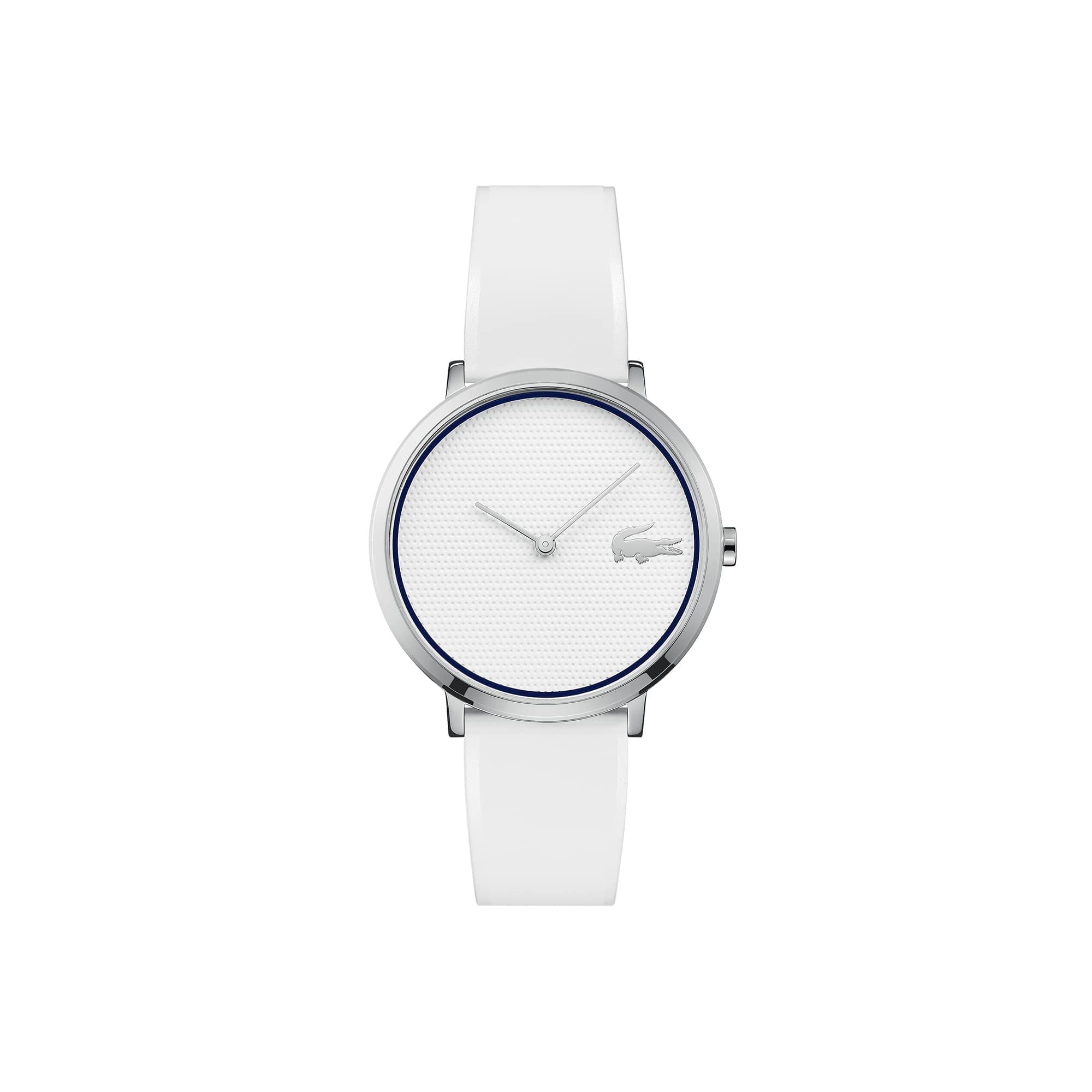 Relógio ultra slim Moon de mulher Golf Capsule com bracelete de silicone branca