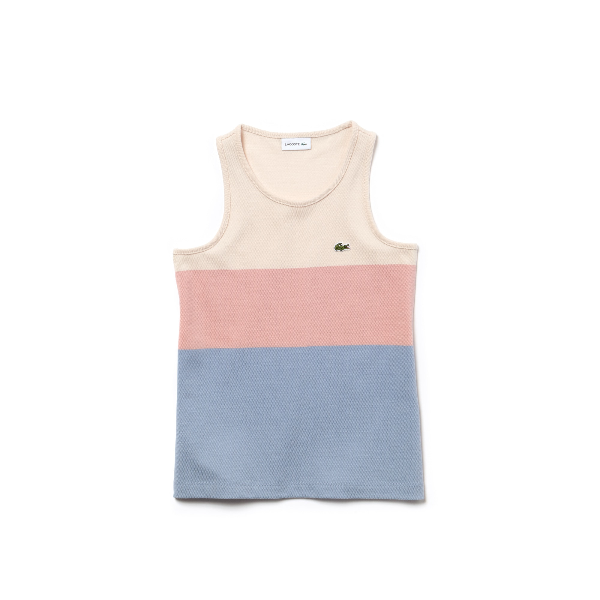 Top sem mangas em piqué de algodão color block