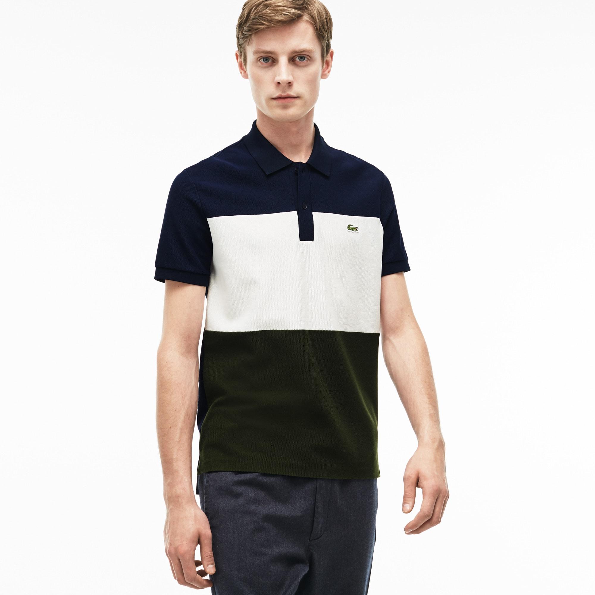 Polo regular fit Lacoste em piqué de algodão color block