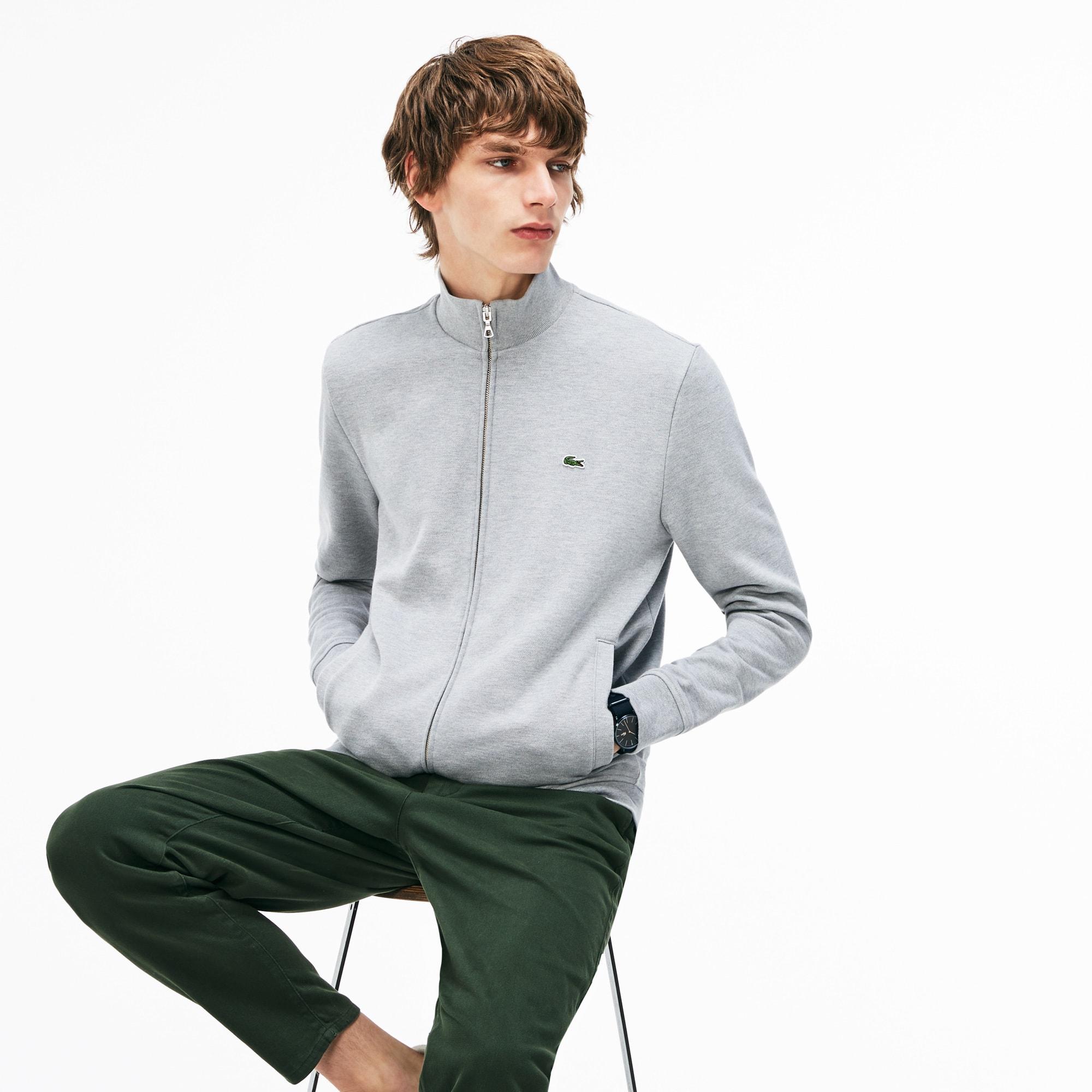 Sweatshirt com fecho de correr e gola subida em moletão unicolor