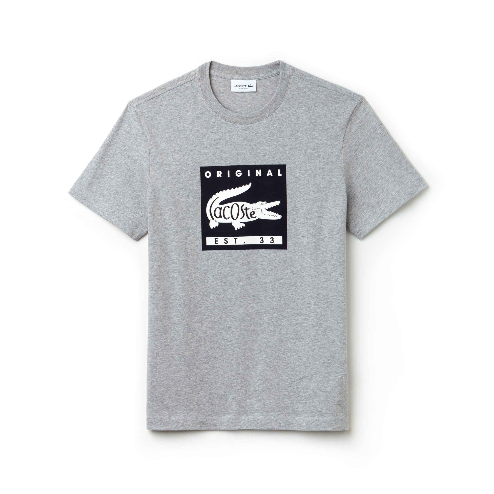 T-shirt de decote redondo em jersey com marcação Lacoste Original
