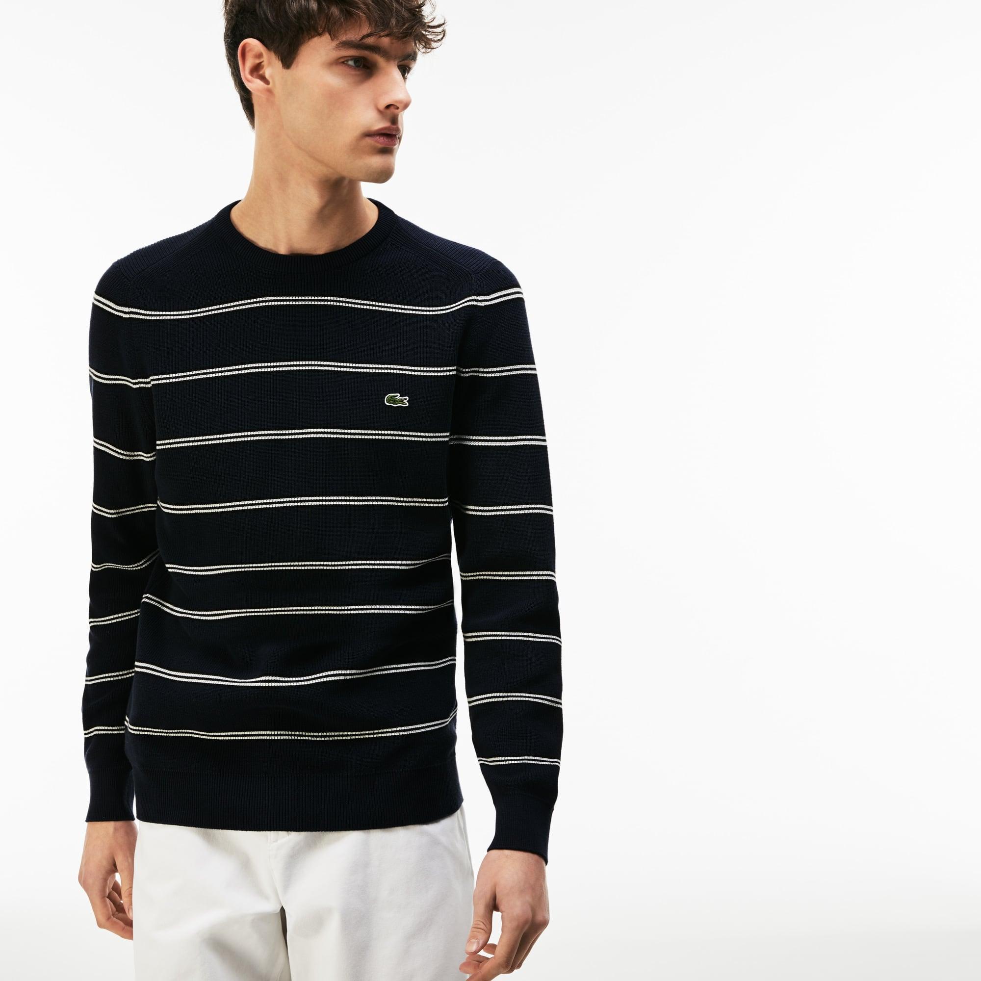 Camisola decote redondo em algodão canelado com faixa às riscas