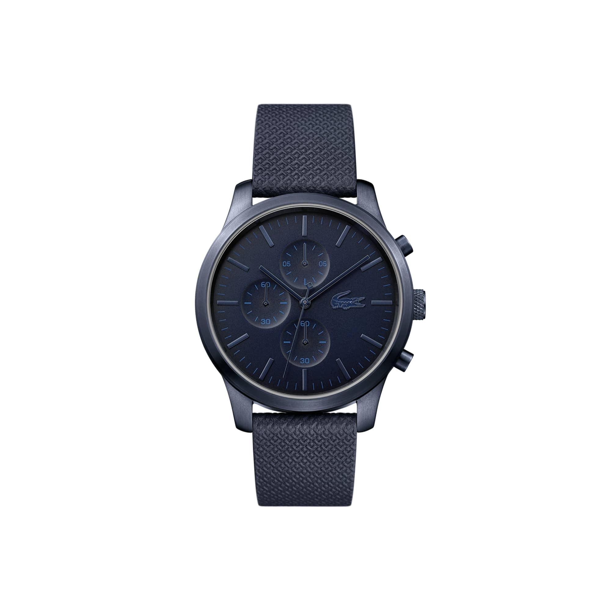 Relógio cronógrafo Lacoste 12.12 de homem do 85.º aniversário com uma bracelete de pele gravada com Petit Piqué em azul