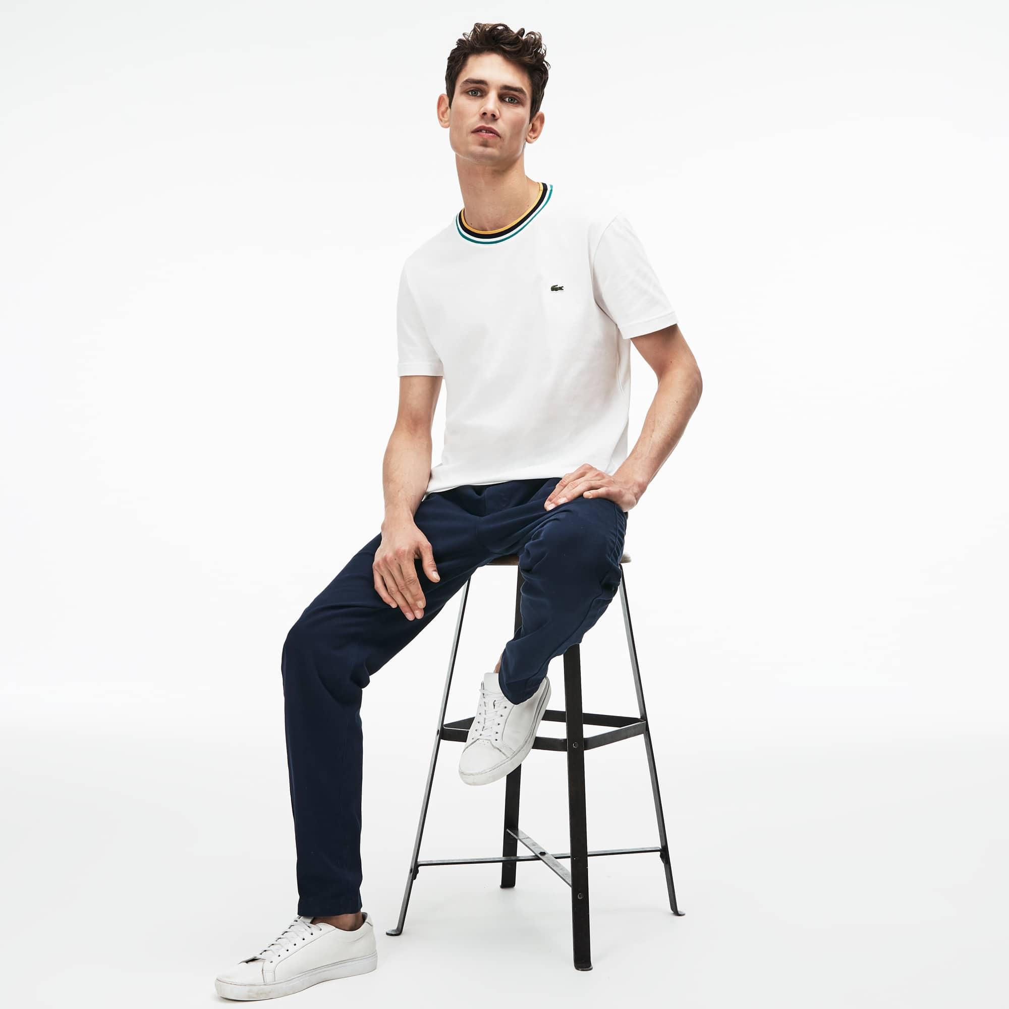 T-shirt decote redondo canelado às riscas em jersey de algodão unicolor