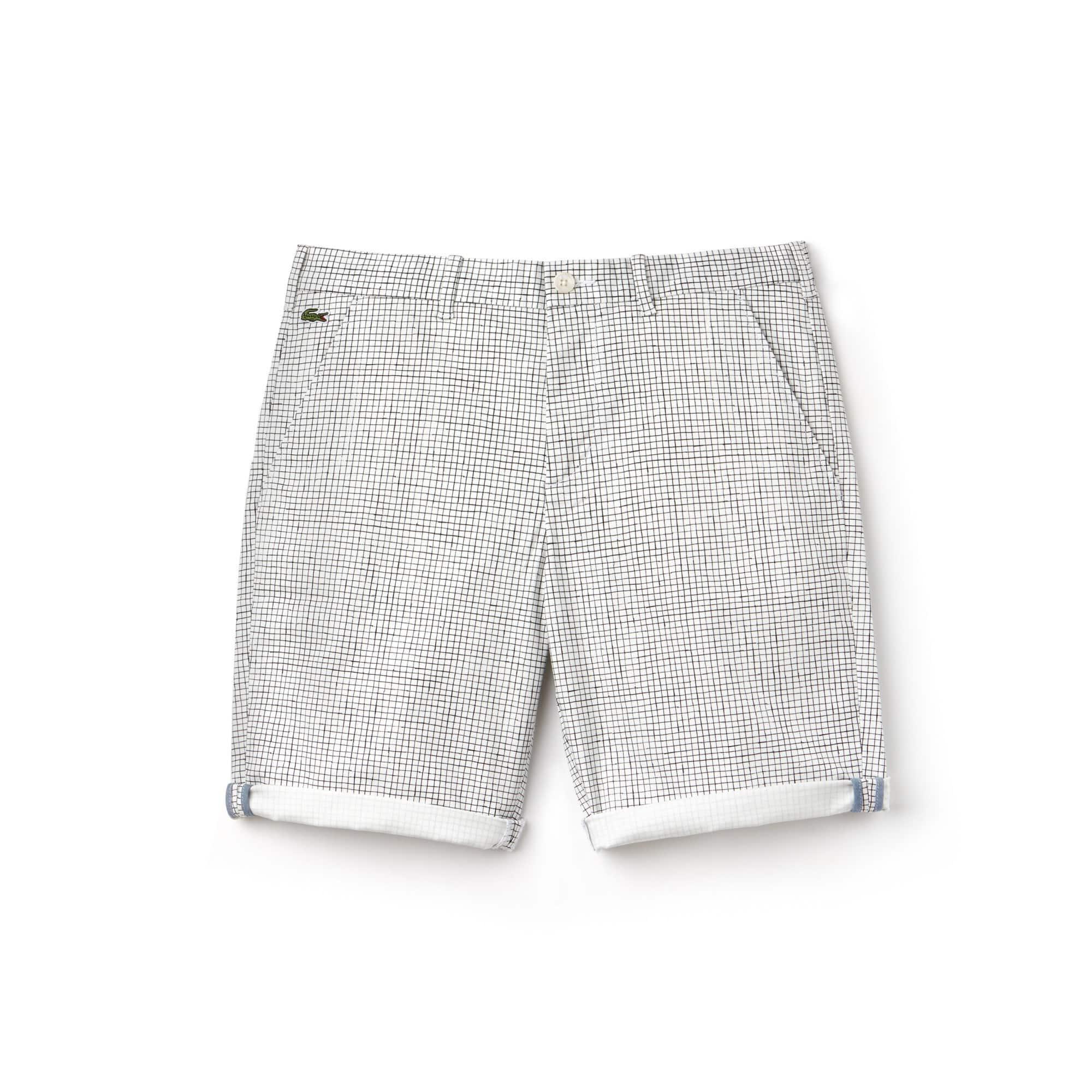Bermudas Lacoste LIVE em twill de algodão stretch com quadradinhos