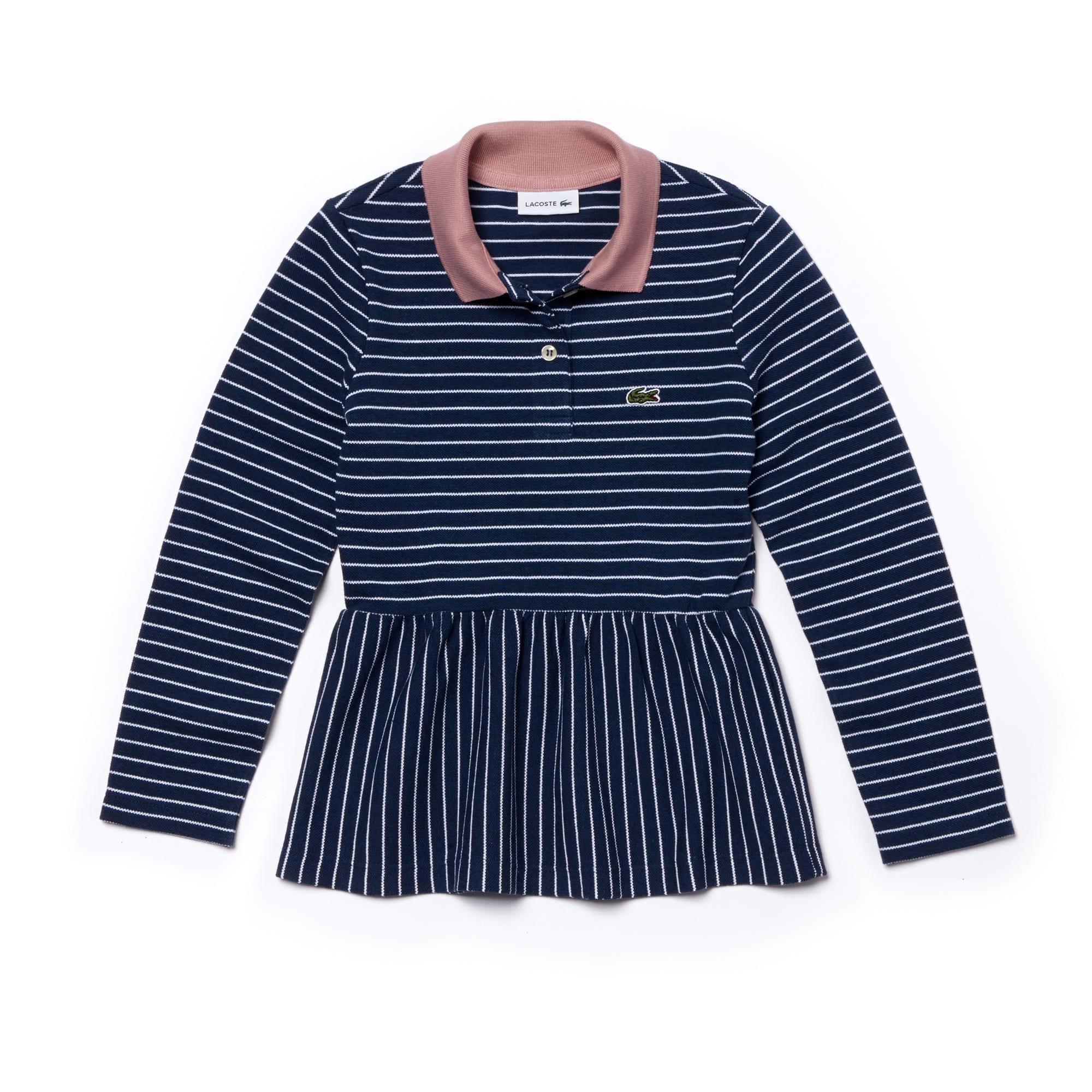 Girls' Lacoste Striped Piqué Polo Shirt