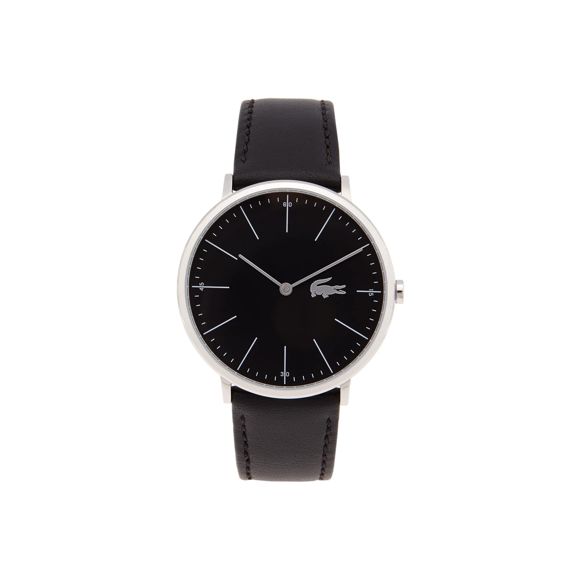 Relógio ultra slim Moon de homem com bracelete de pele preta