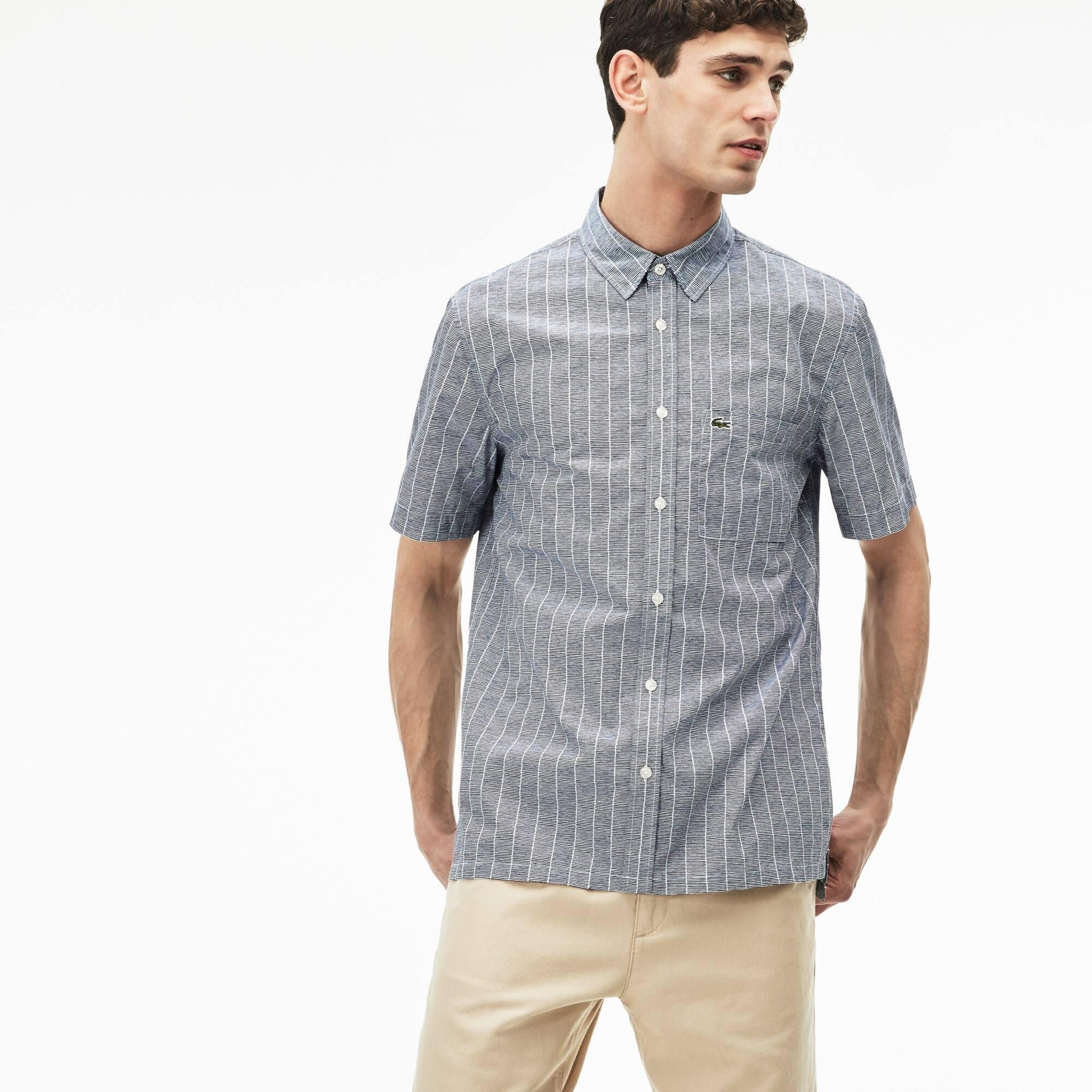 Camisa relax fit de manga curta em popelina impressa