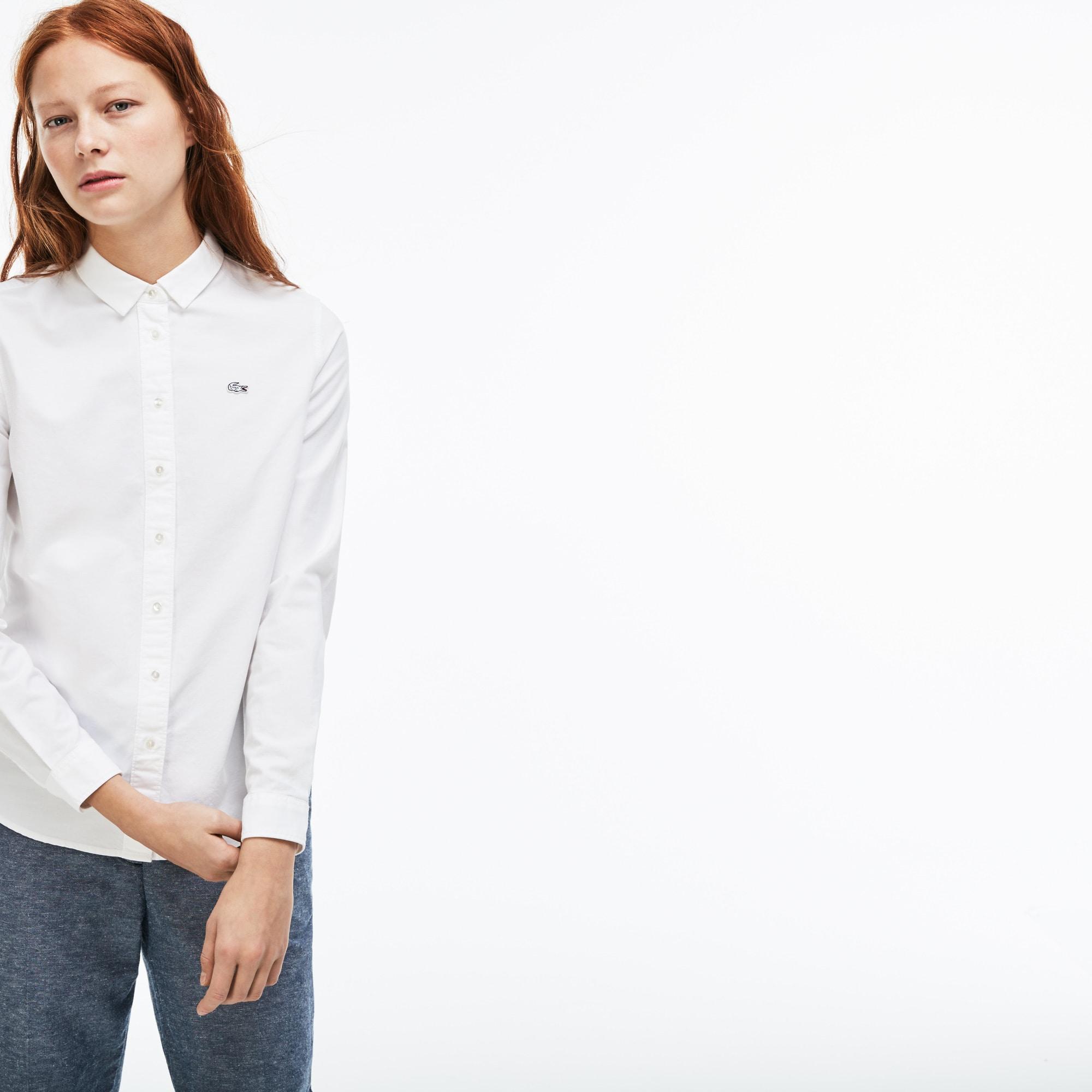 Camisa slim fit Lacoste LIVE em algodão Oxford unicolor