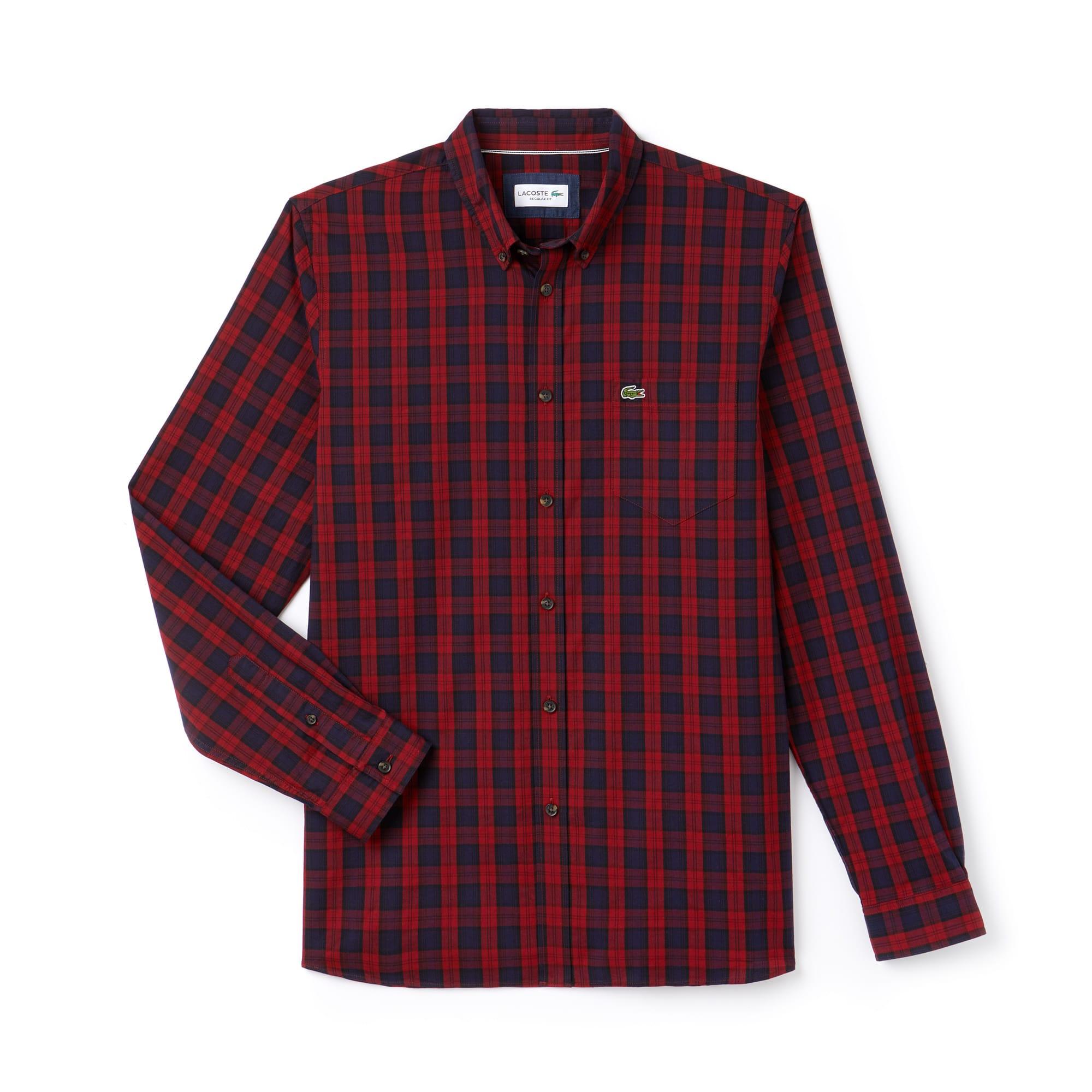 Camisa regular fit Lacoste Motion em twill de algodão aos quadrados