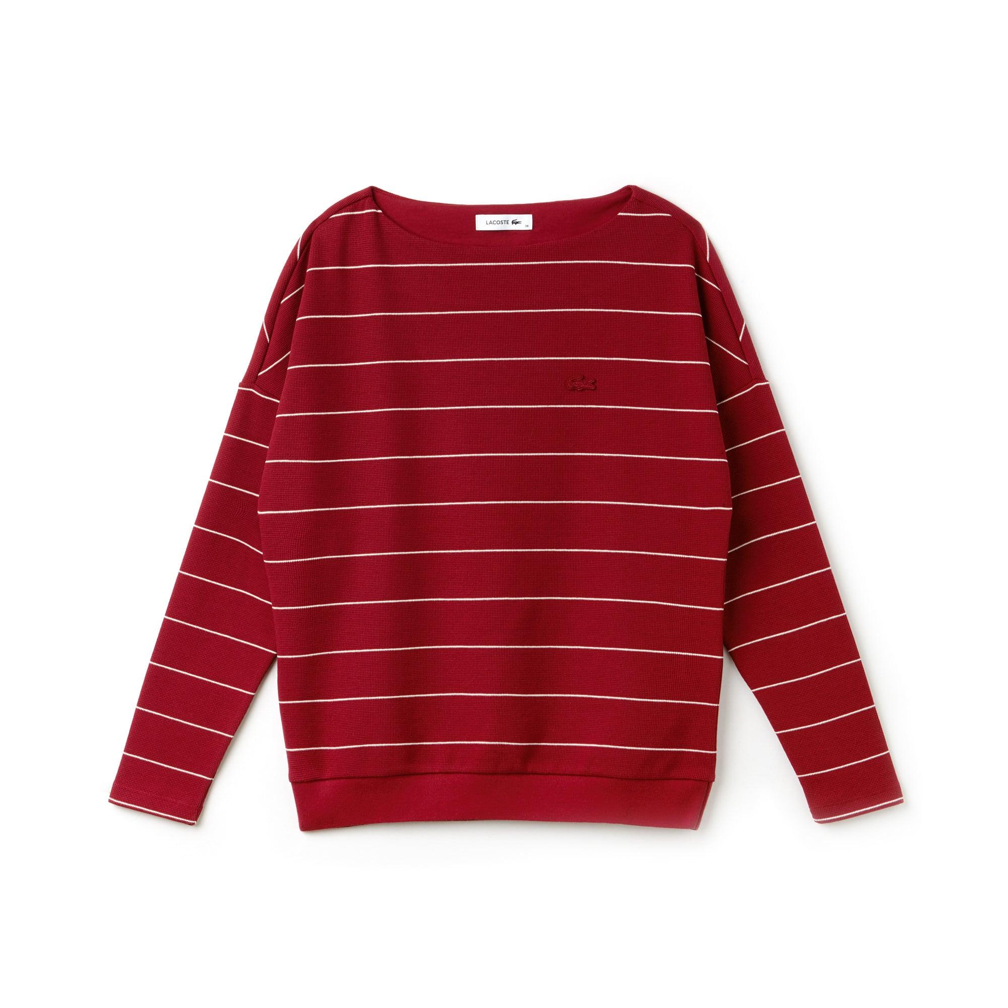 Sweatshirt gola barco em algodão com relevo favo de mel às riscas