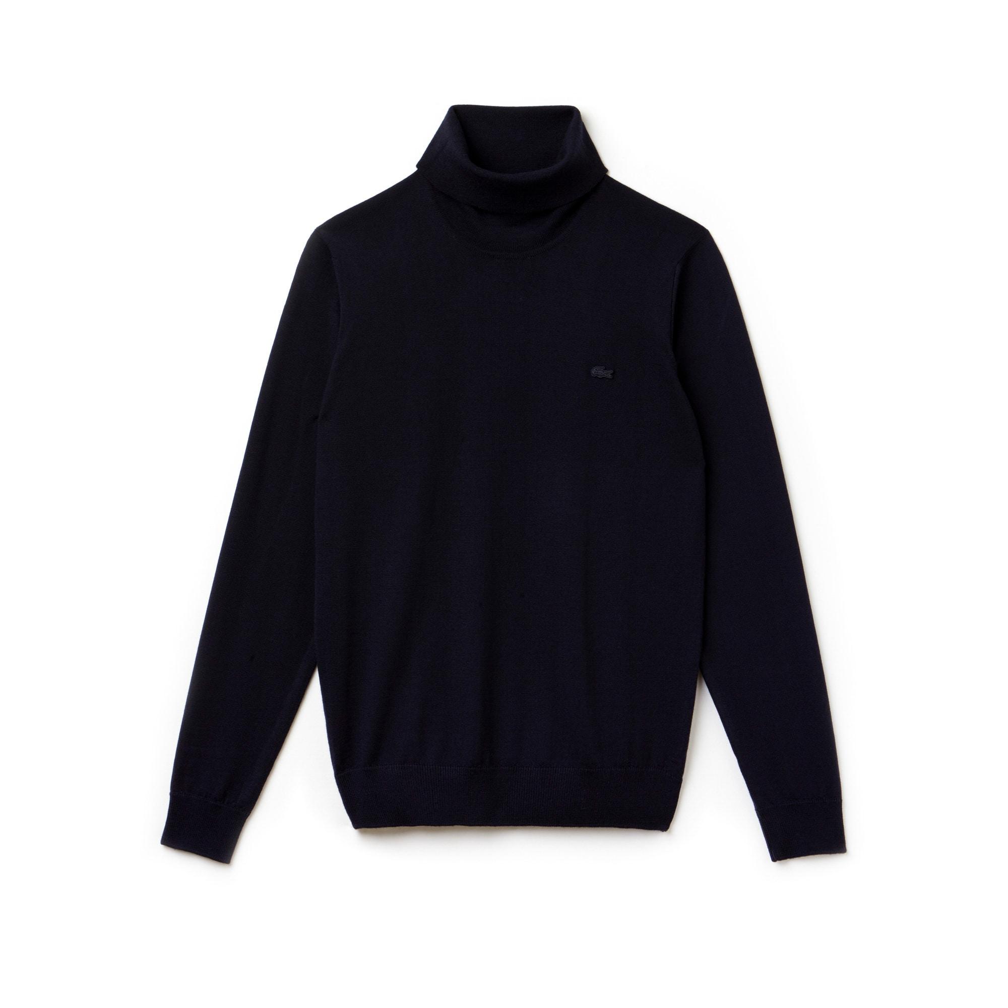 Camisola de gola alta em jersey de lã unicolor