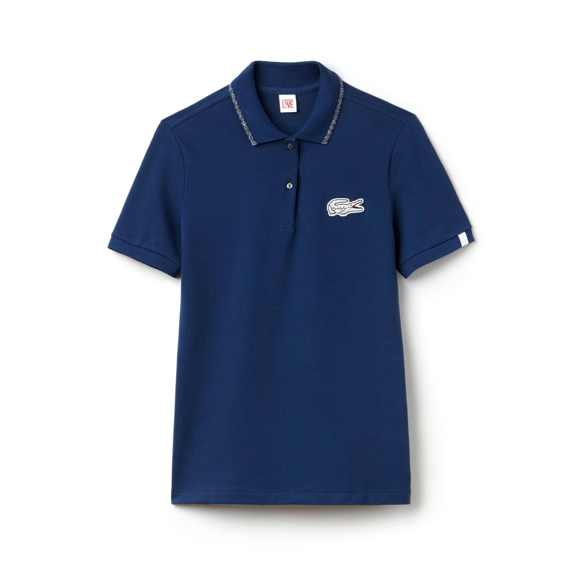 Polo slim fit Lacoste LIVE com debruado e crocodilo Lurex