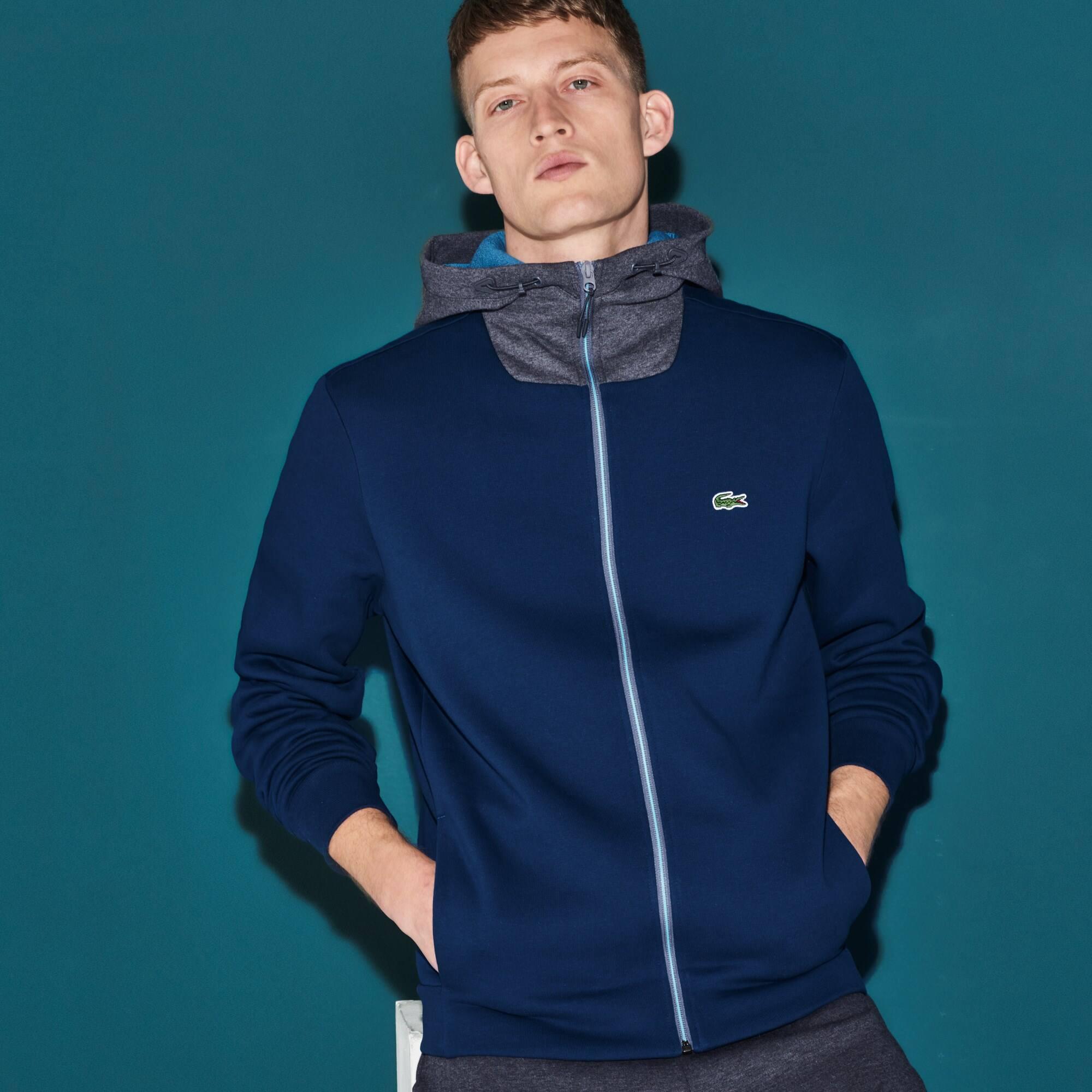 Sweatshirt com fecho de correr e capuz Tennis Lacoste SPORT em moletão bicolor