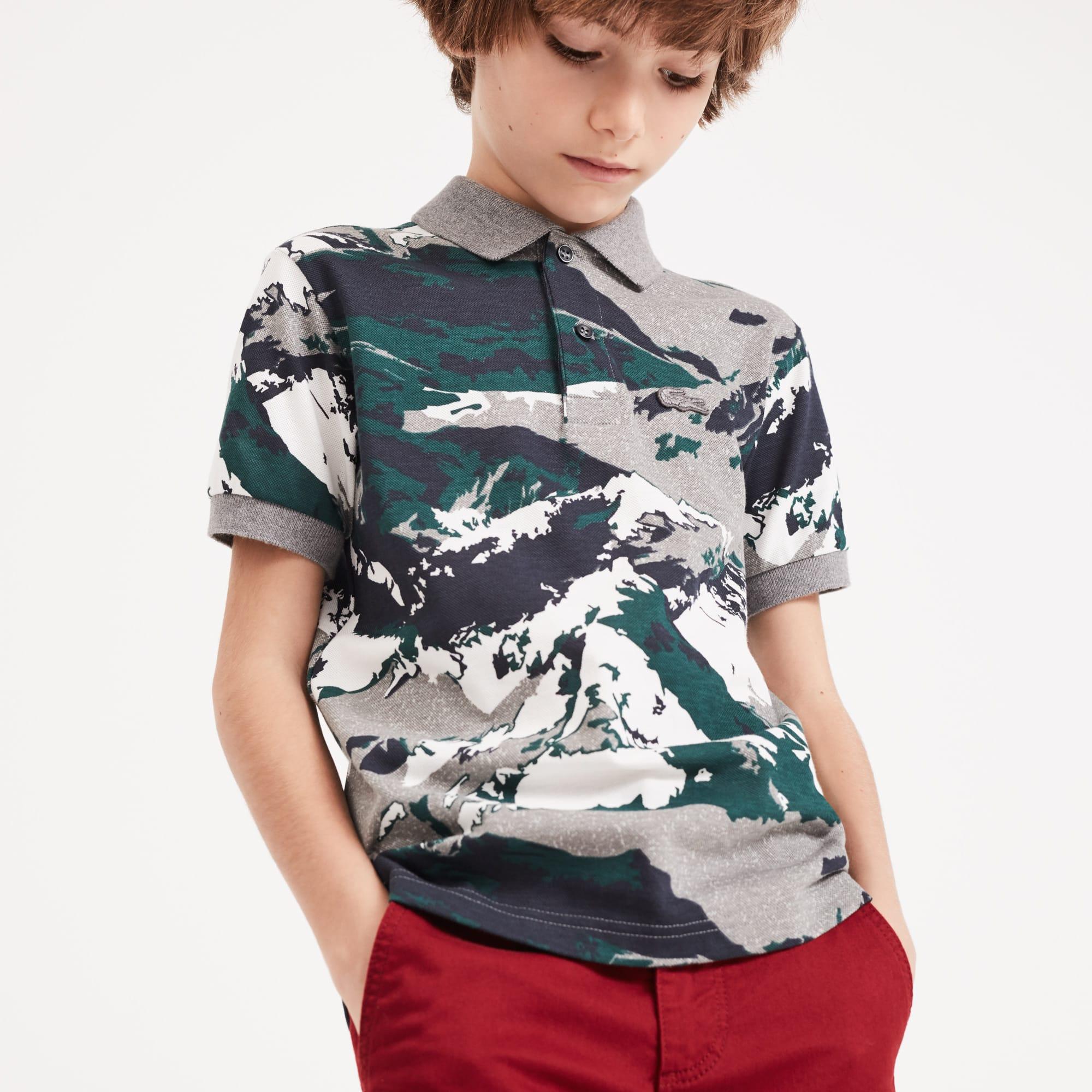 Polo Menino Lacoste em mini piqué de algodão com impressão