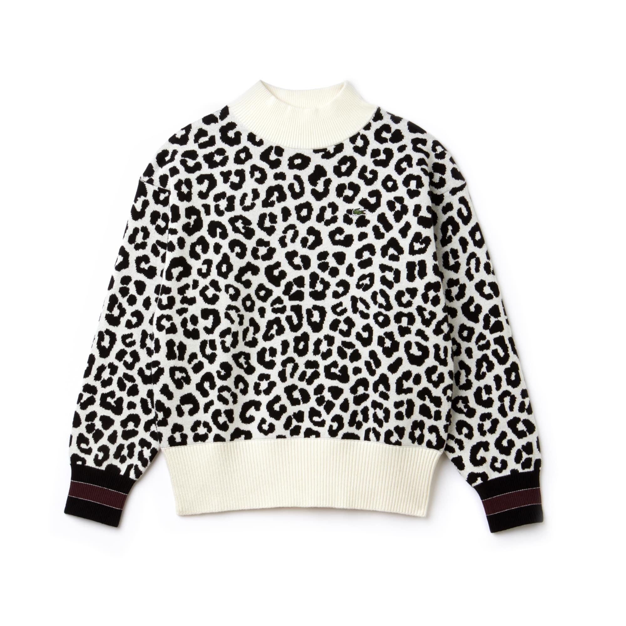 Camisola Lacoste LIVE em jacquard de algodão e caxemira com impressão leopardo