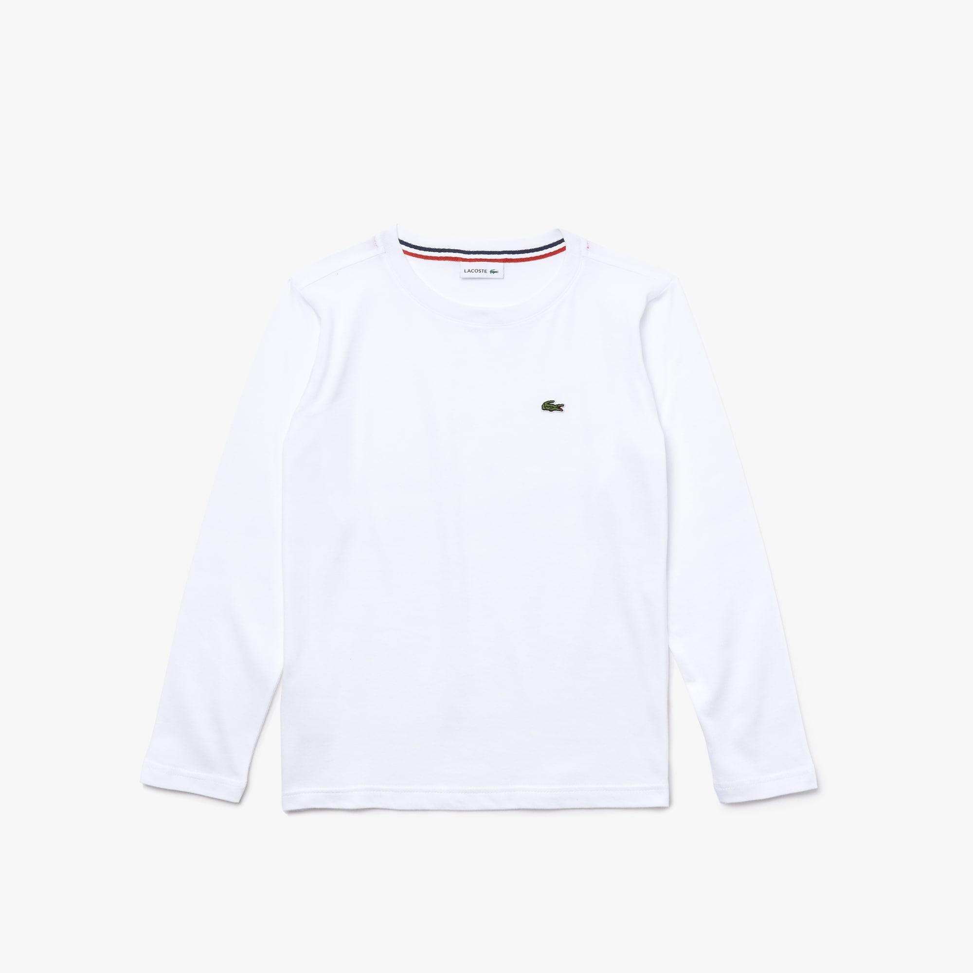 T-shirt Menino decote redondo de manga comprida em jersey unicolor