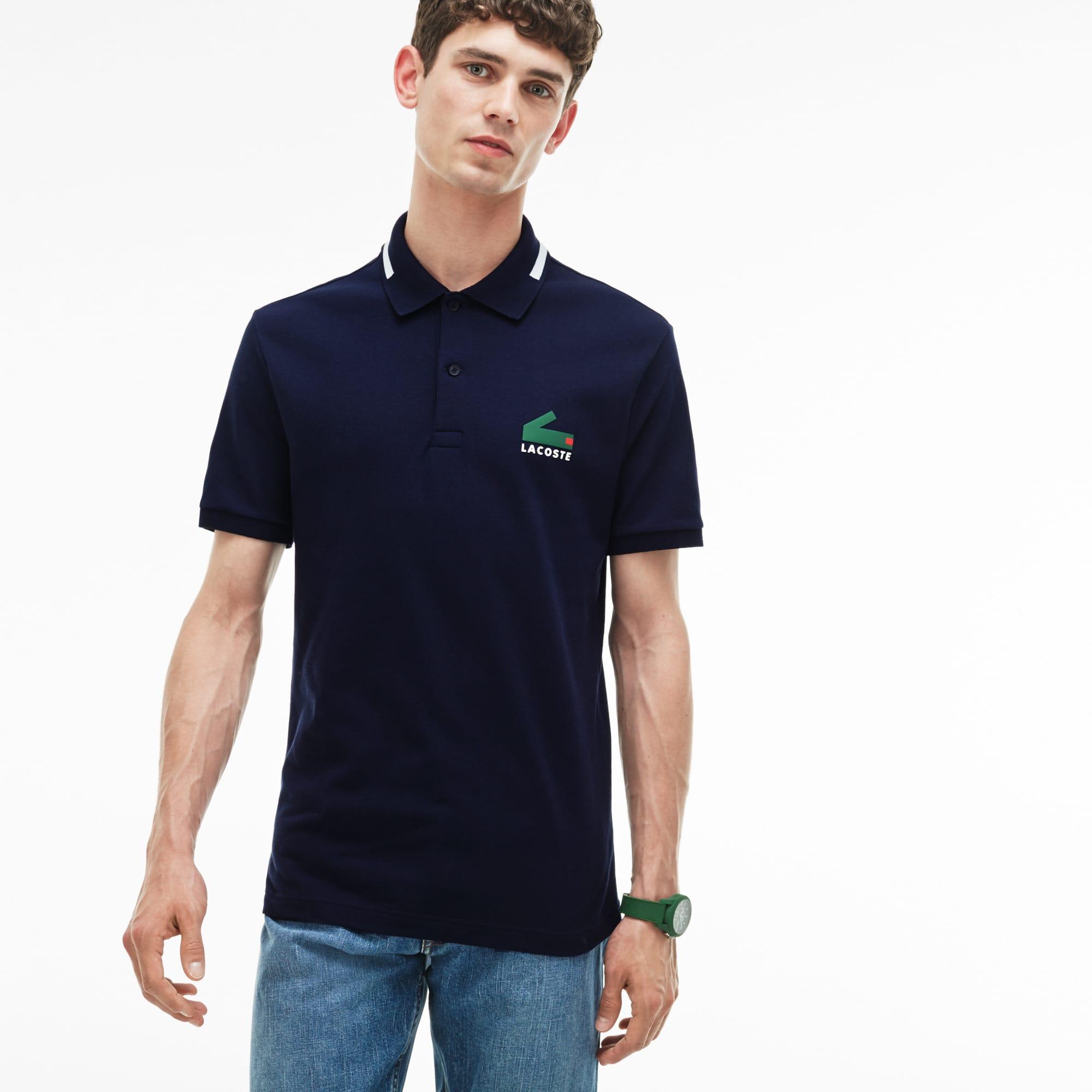 Polo Slim Fit Lacoste em mini piqué stretch com impressão gráfica