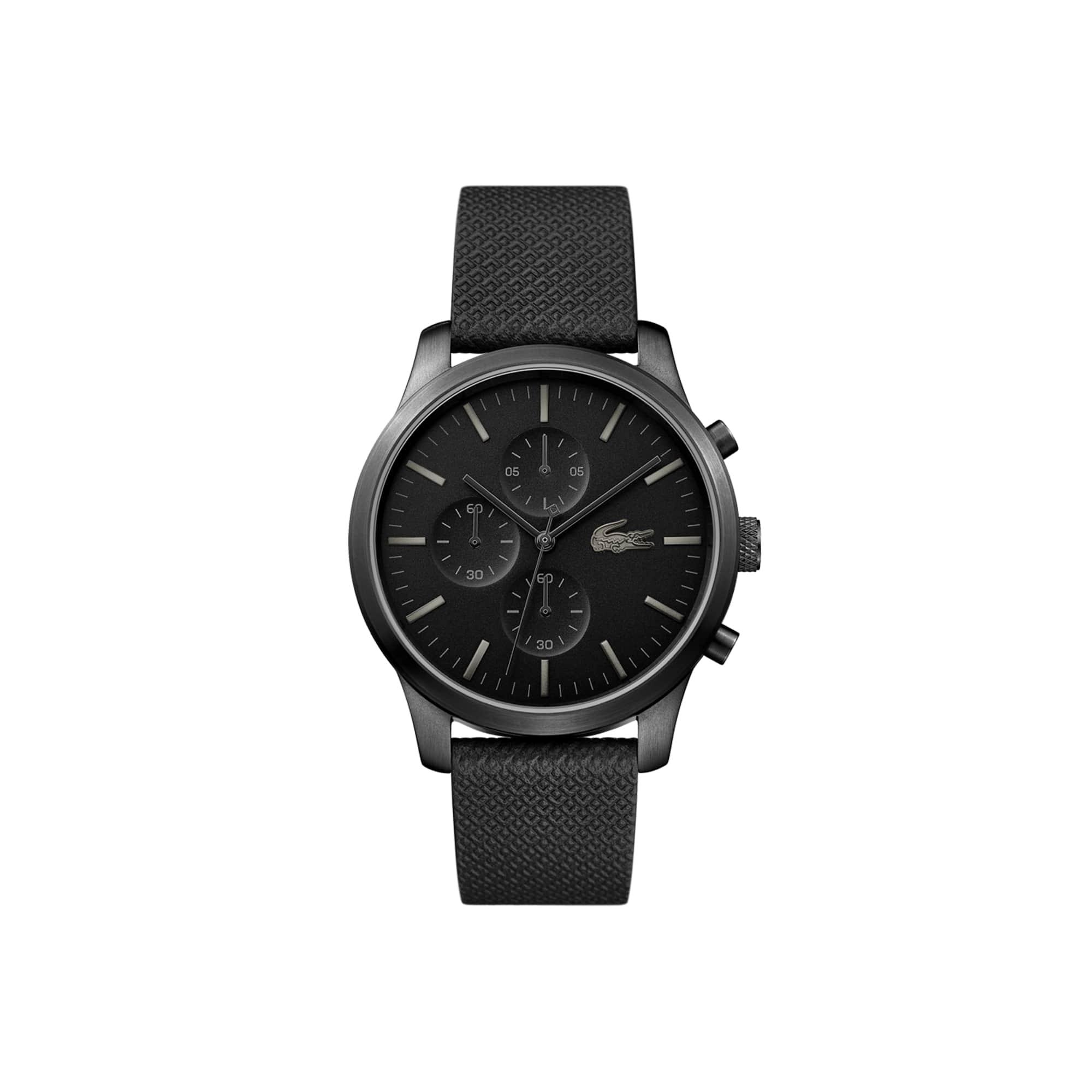 Relógio Lacoste 12.12 de homem do 85.º aniversário com uma bracelete de pele gravada com Petit Piqué em preto