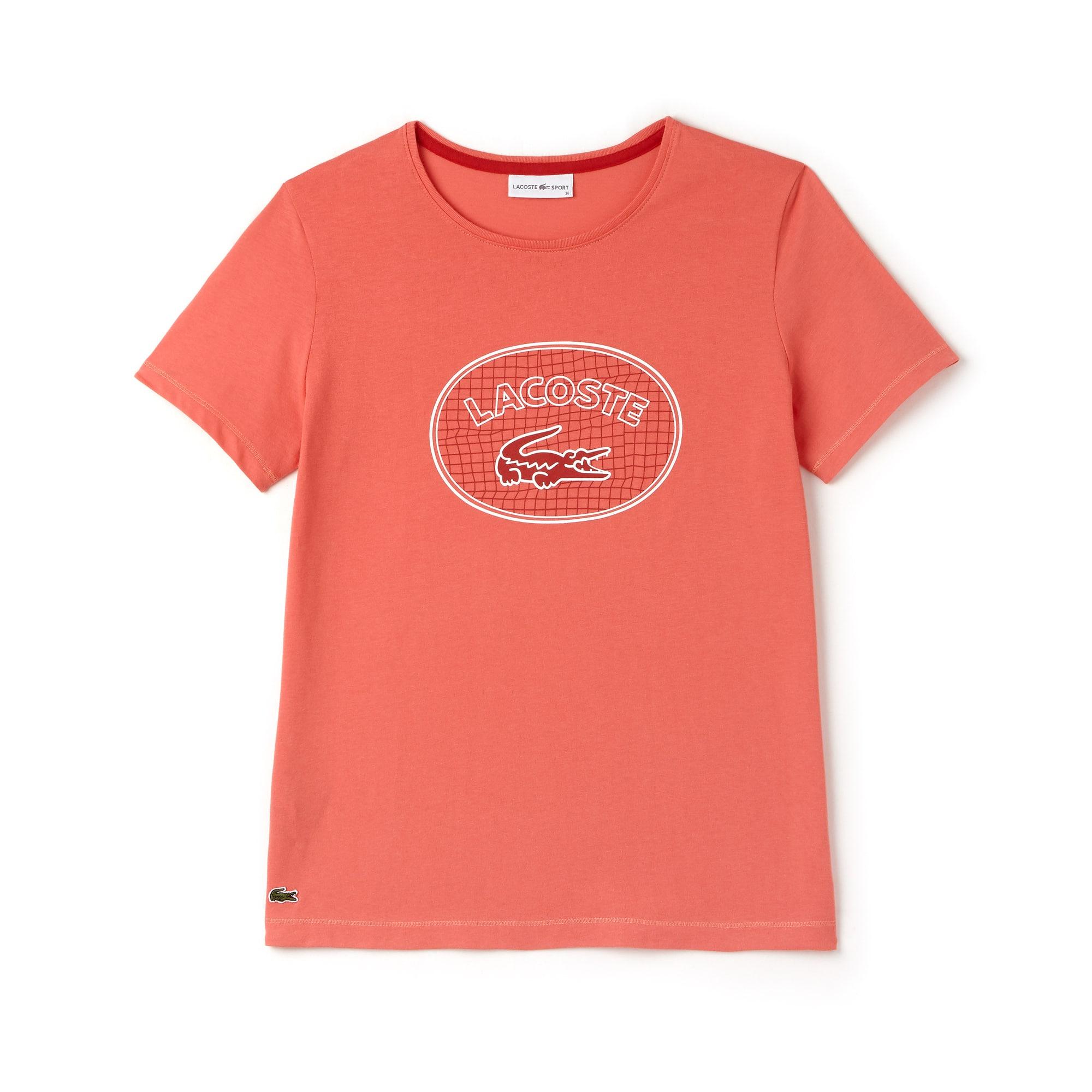 T-shirt decote redondo Tennis Lacoste SPORT em jersey com marcação em tamanho grande