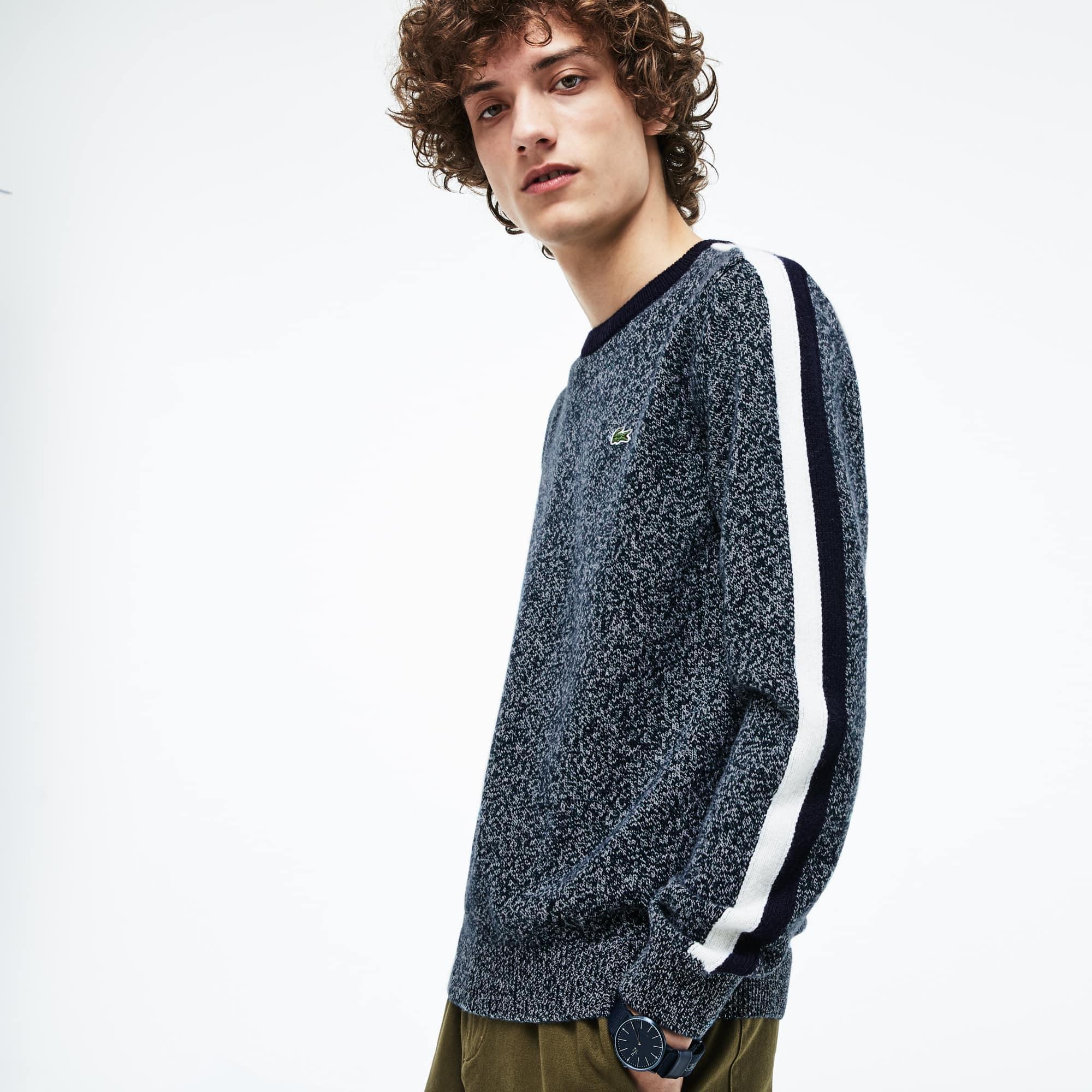 Camisola com decote redondo Made in France em jersey com faixas a contrastar