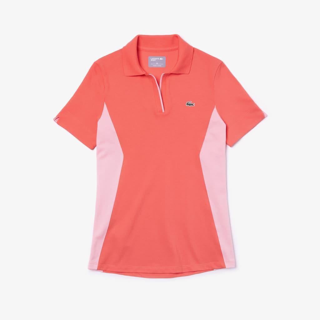 Camisa polo de golfe em algodão colorblock de decote aberto Lacoste SPORT  para mulher 1e4b4843f9