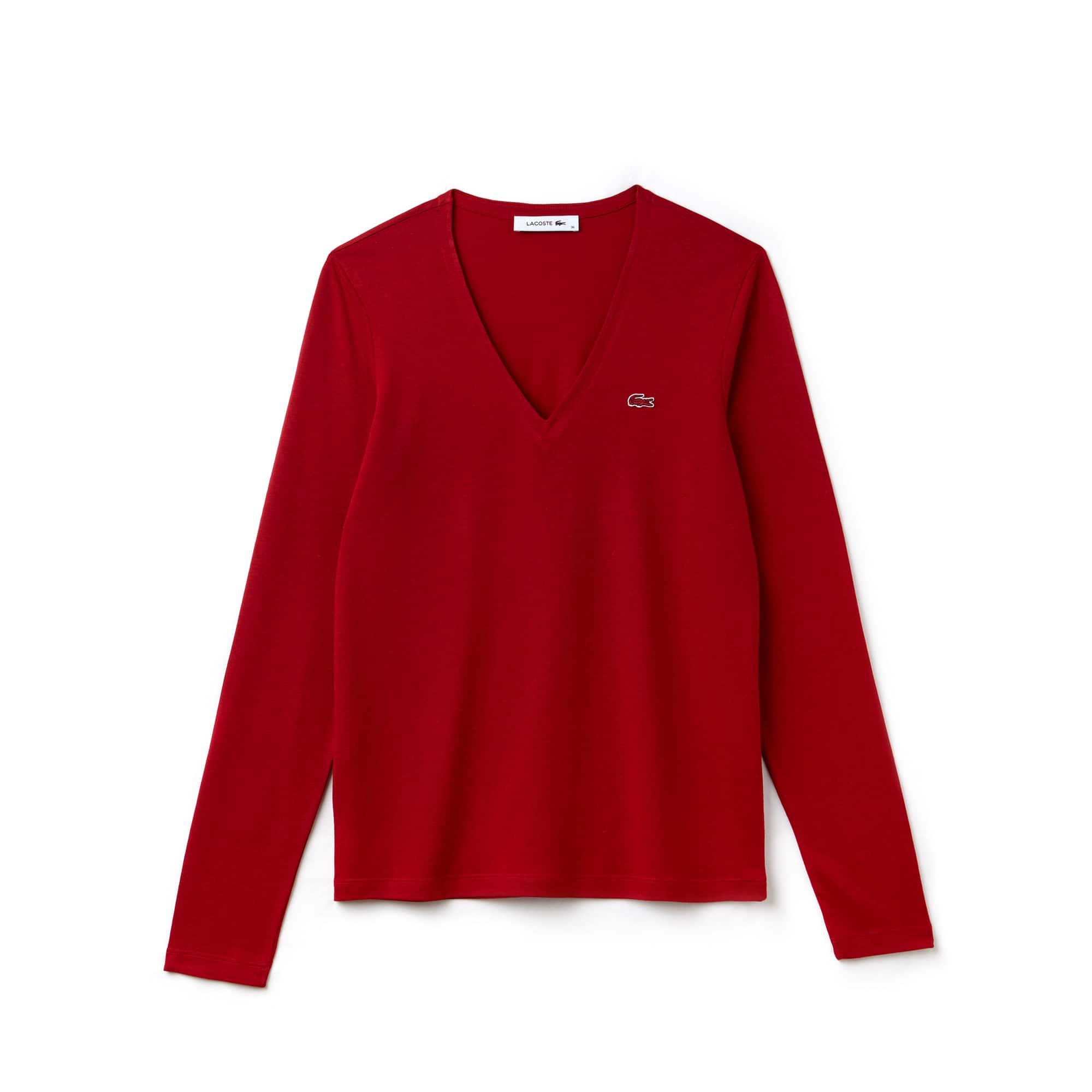 T-shirt decote em V de manga comprida em jersey de algodão fluido unicolor