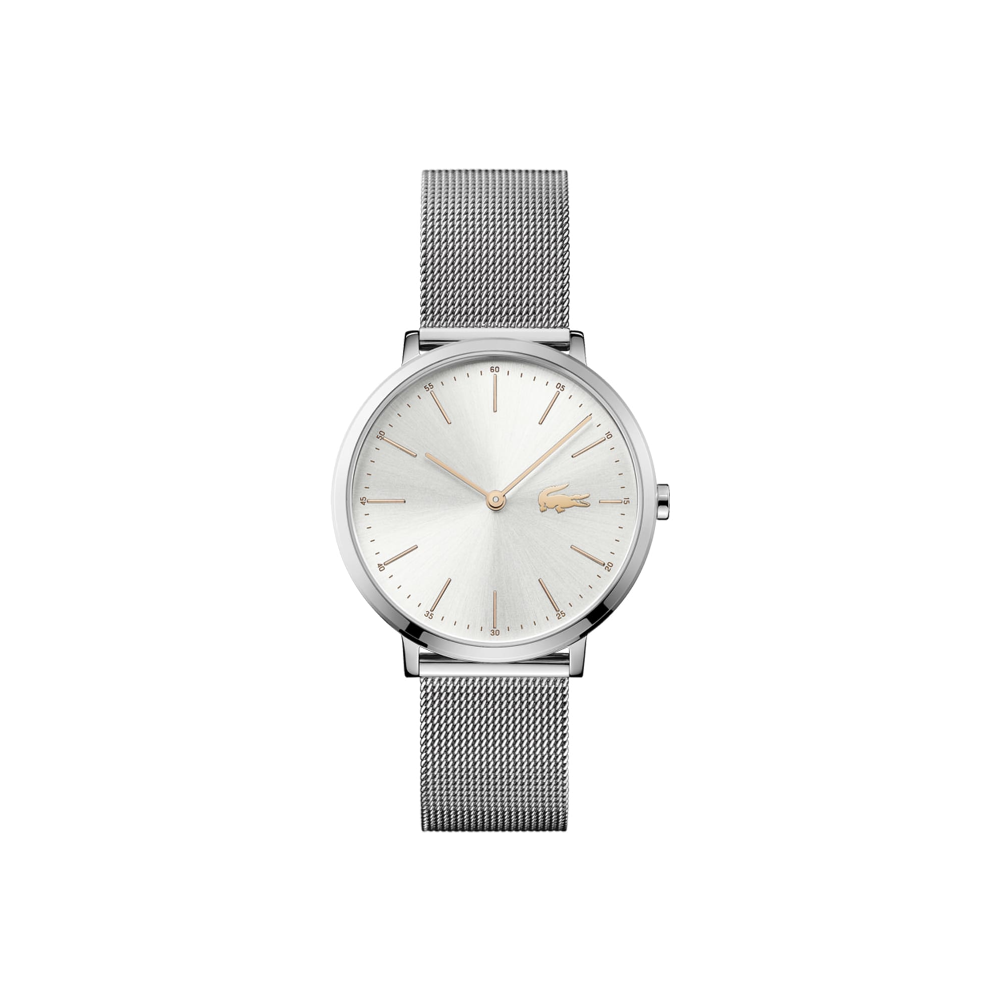Relógio ultra slim Moon de mulher com bracelete de rede de aço inoxidável