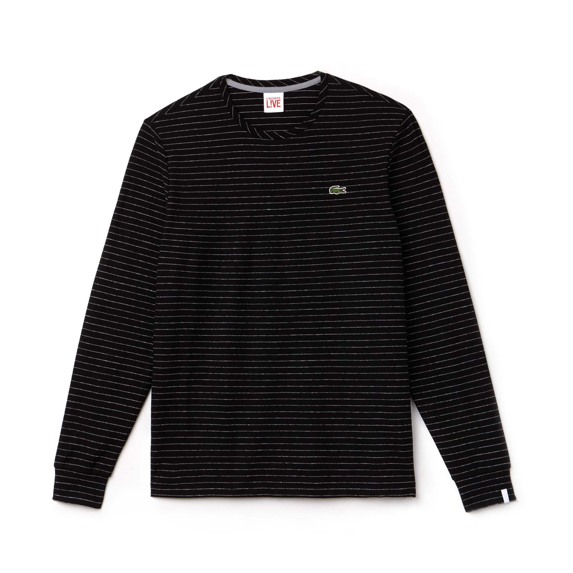 T-shirt de manga comprida Lacoste LIVE em jersey de algodão e linho às riscas