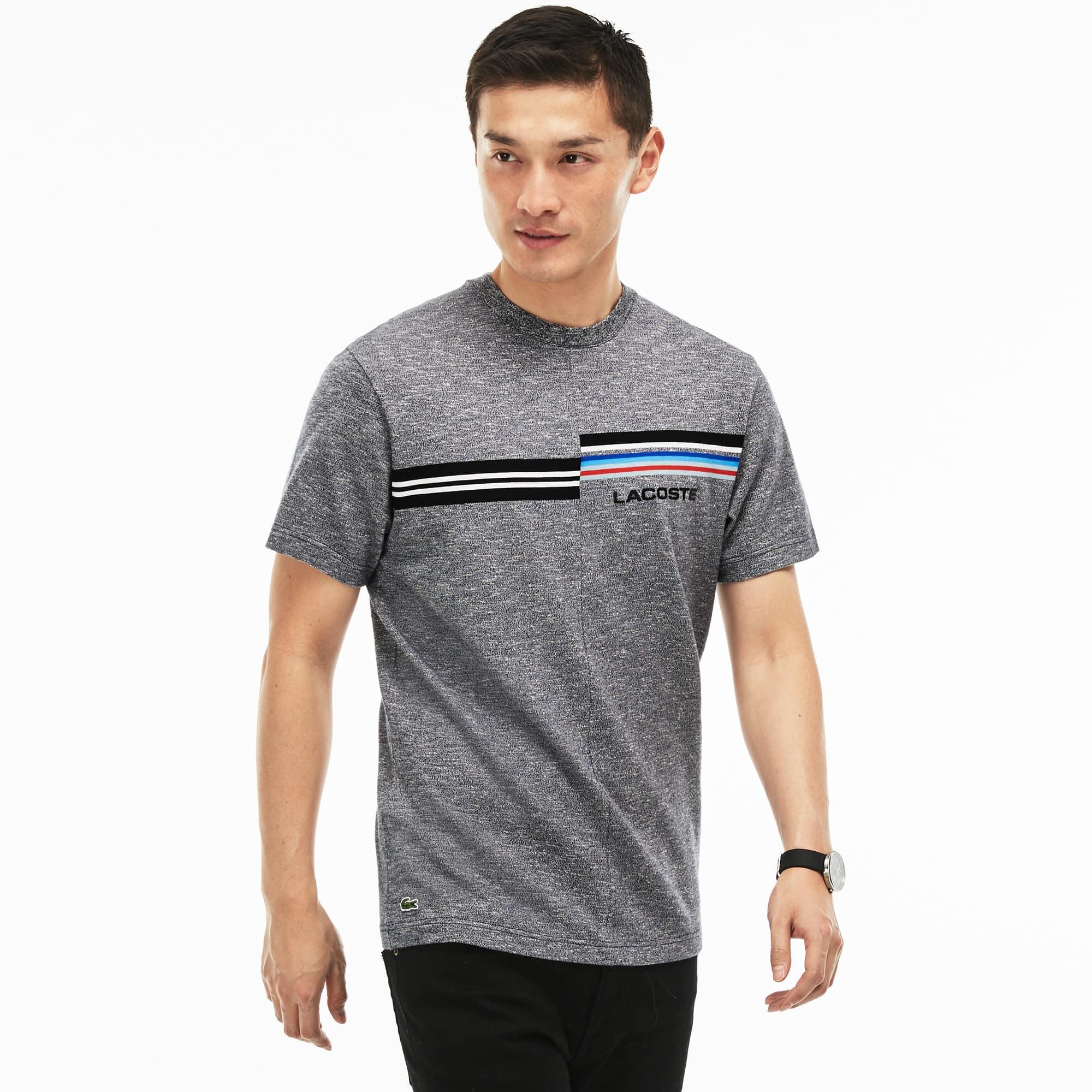T-shirt decote redondo em jersey com impressão e marcação 3D Lacoste