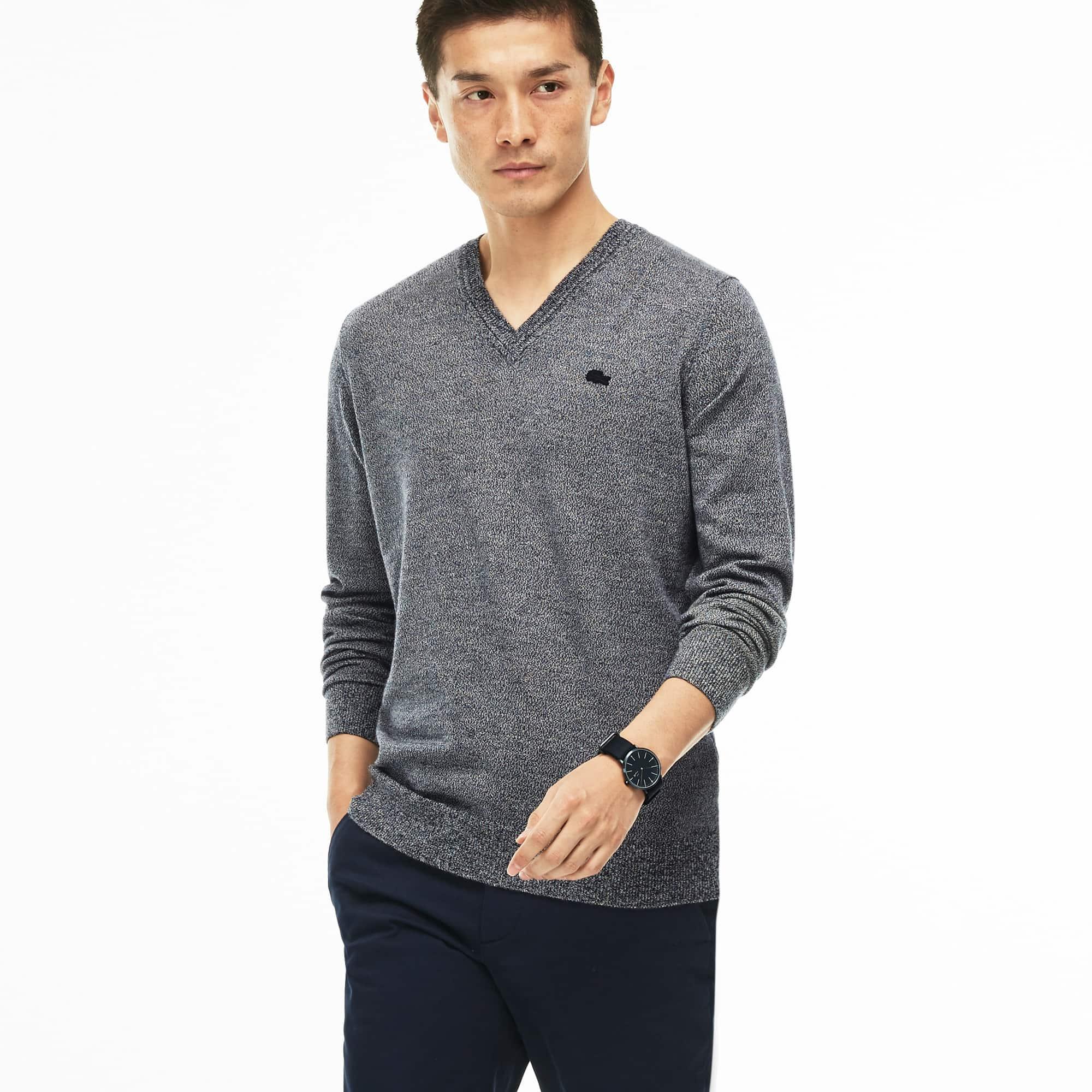 Camisola decote em V em jersey de lã unicolor