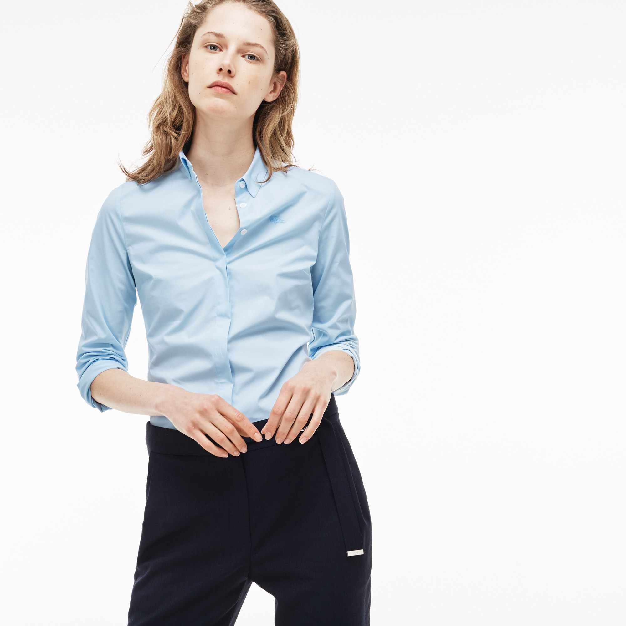 Camisa slim fit em popelina de algodão stretch unicolor