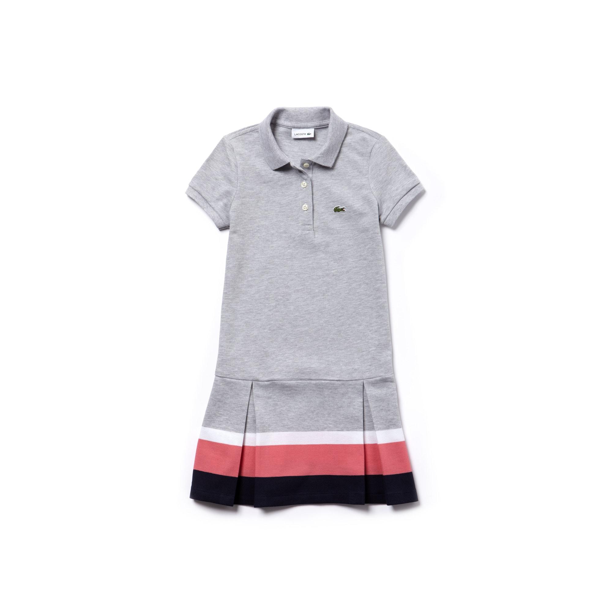 Vestido polo plissado Menina em petit piqué com faixas a contrastar