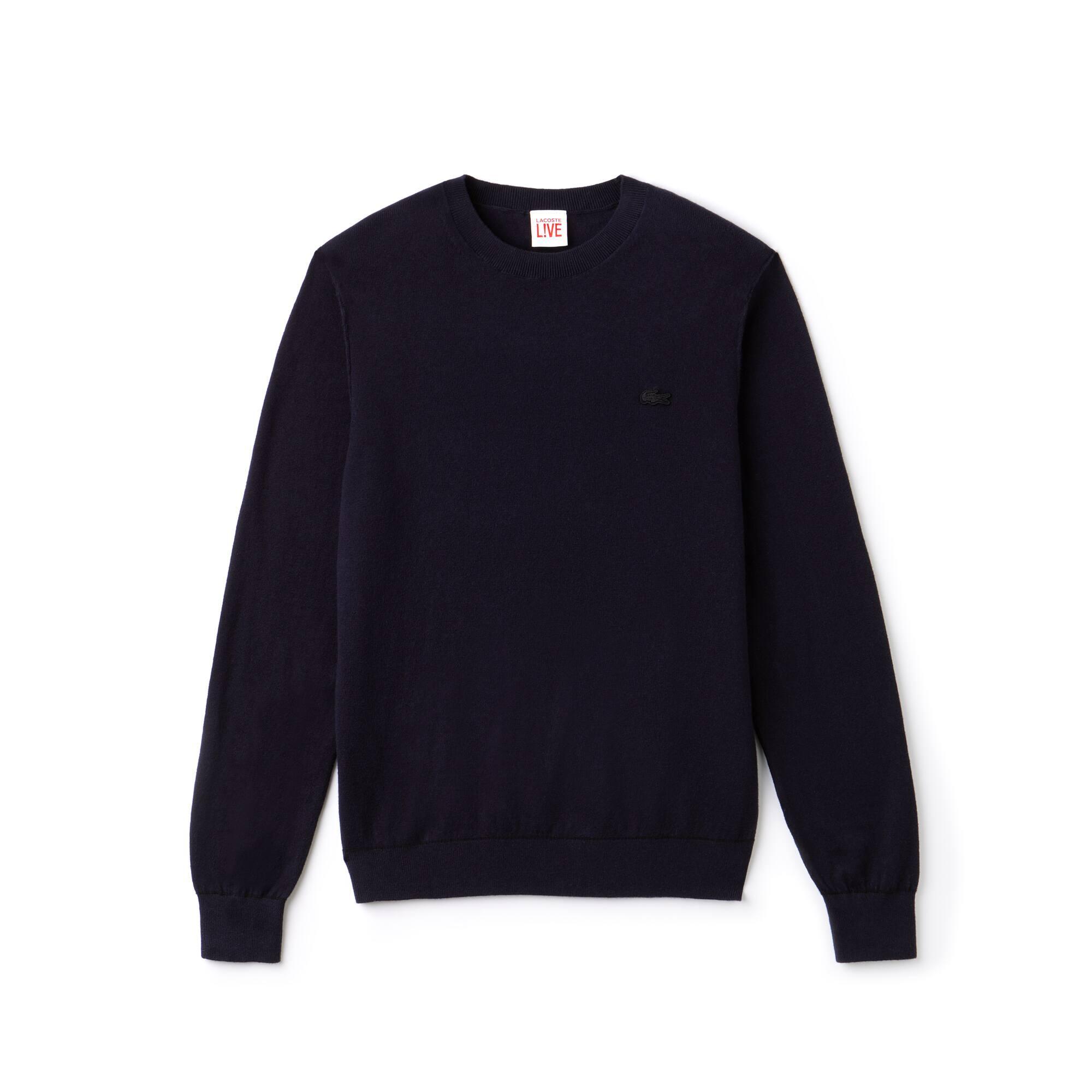 Camisola com decote redondo Lacoste LIVE em jersey de algodão e caxemira com debruado