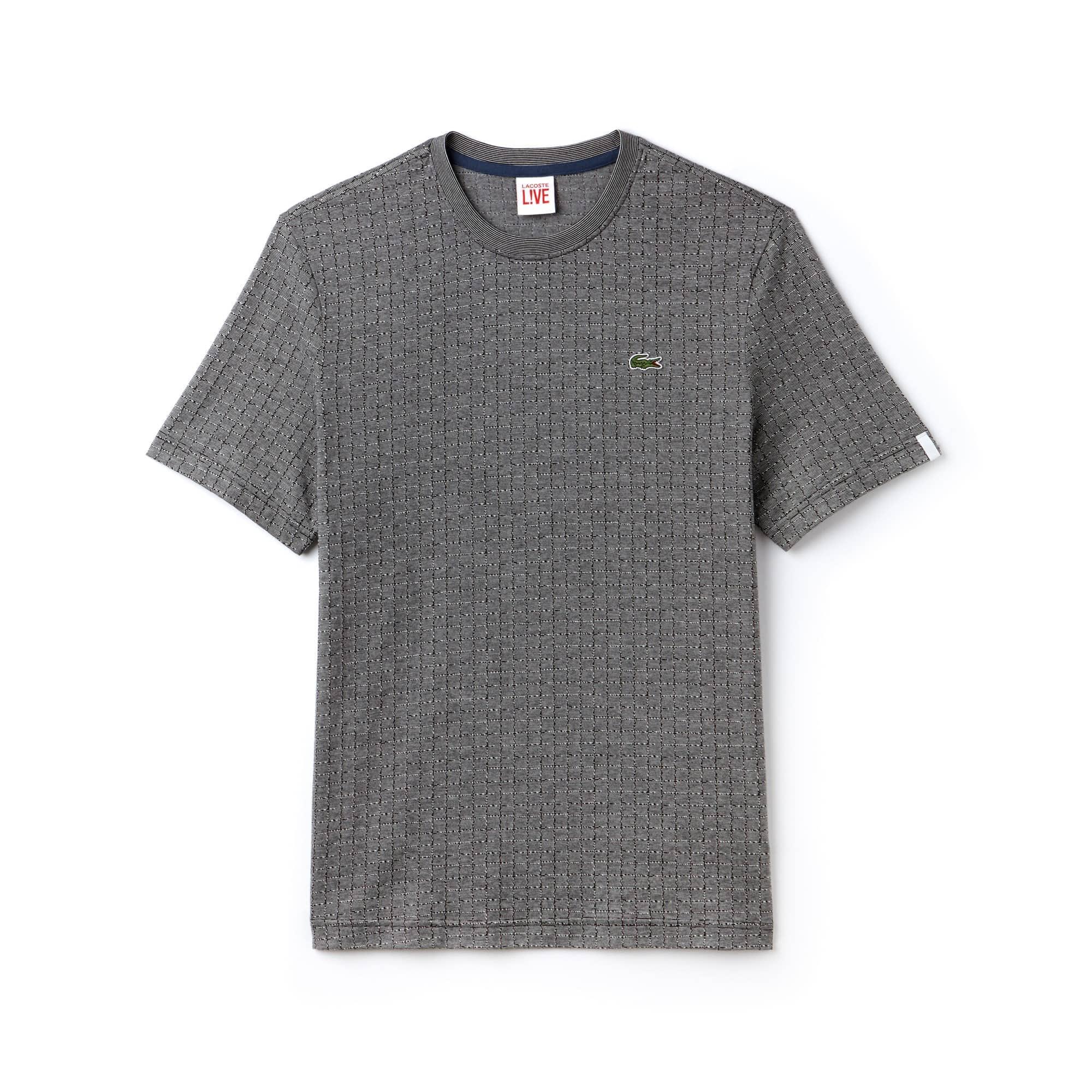 T-shirt com decote redondo Lacoste LIVE em jacquard de algodão impresso
