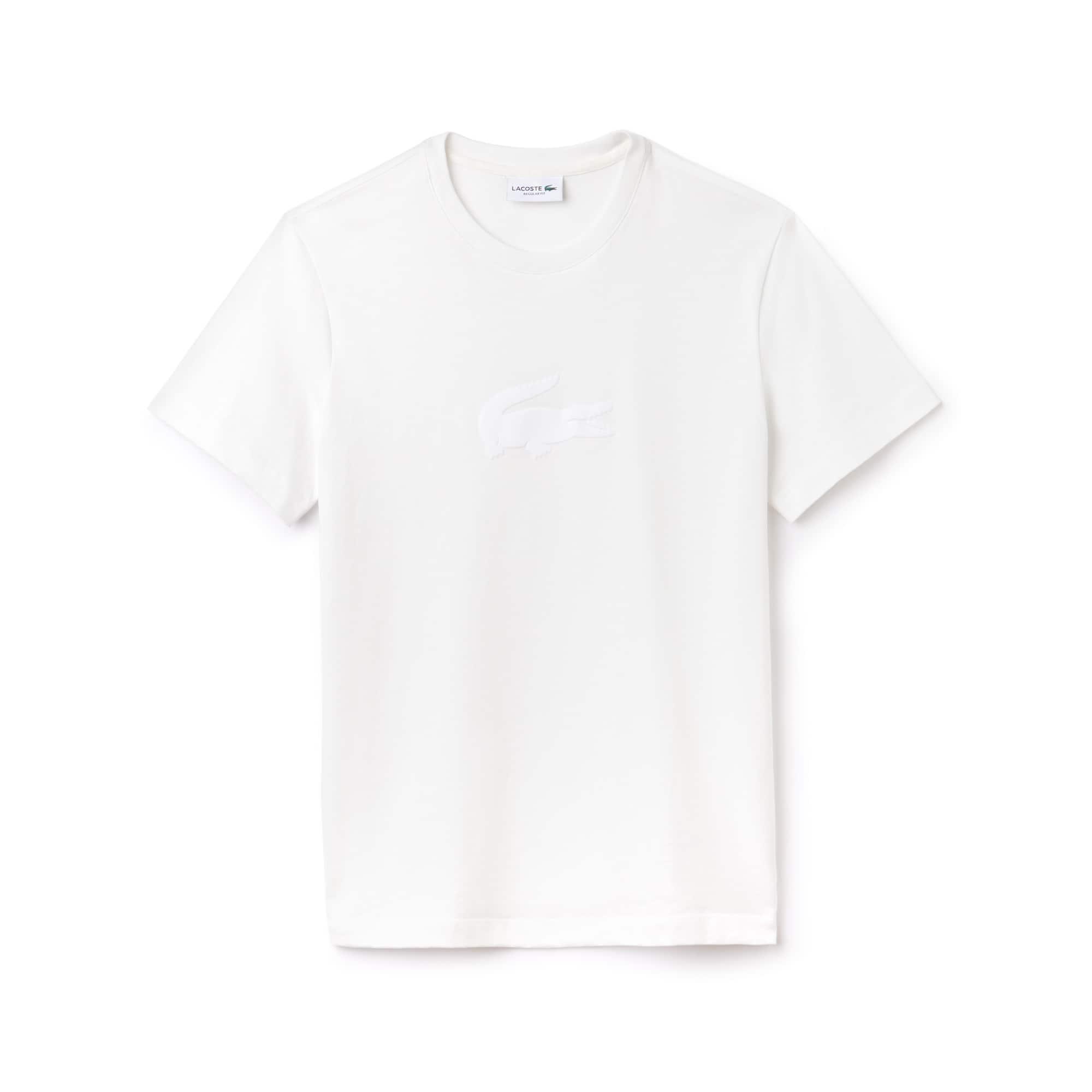 T-shirt decote redondo em jersey unicolor com crocodilo em tamanho grande