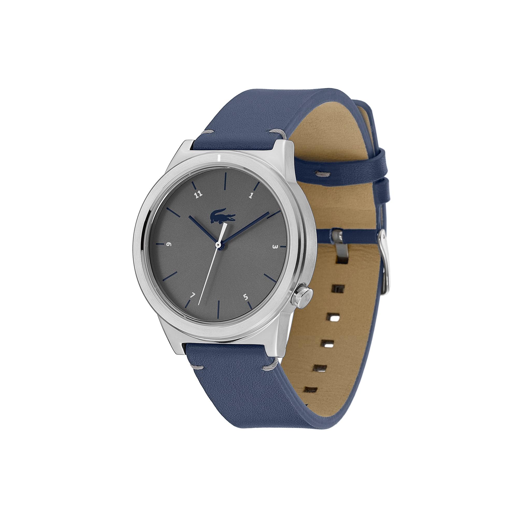 Relógio Motion de homem com bracelete de pele azul