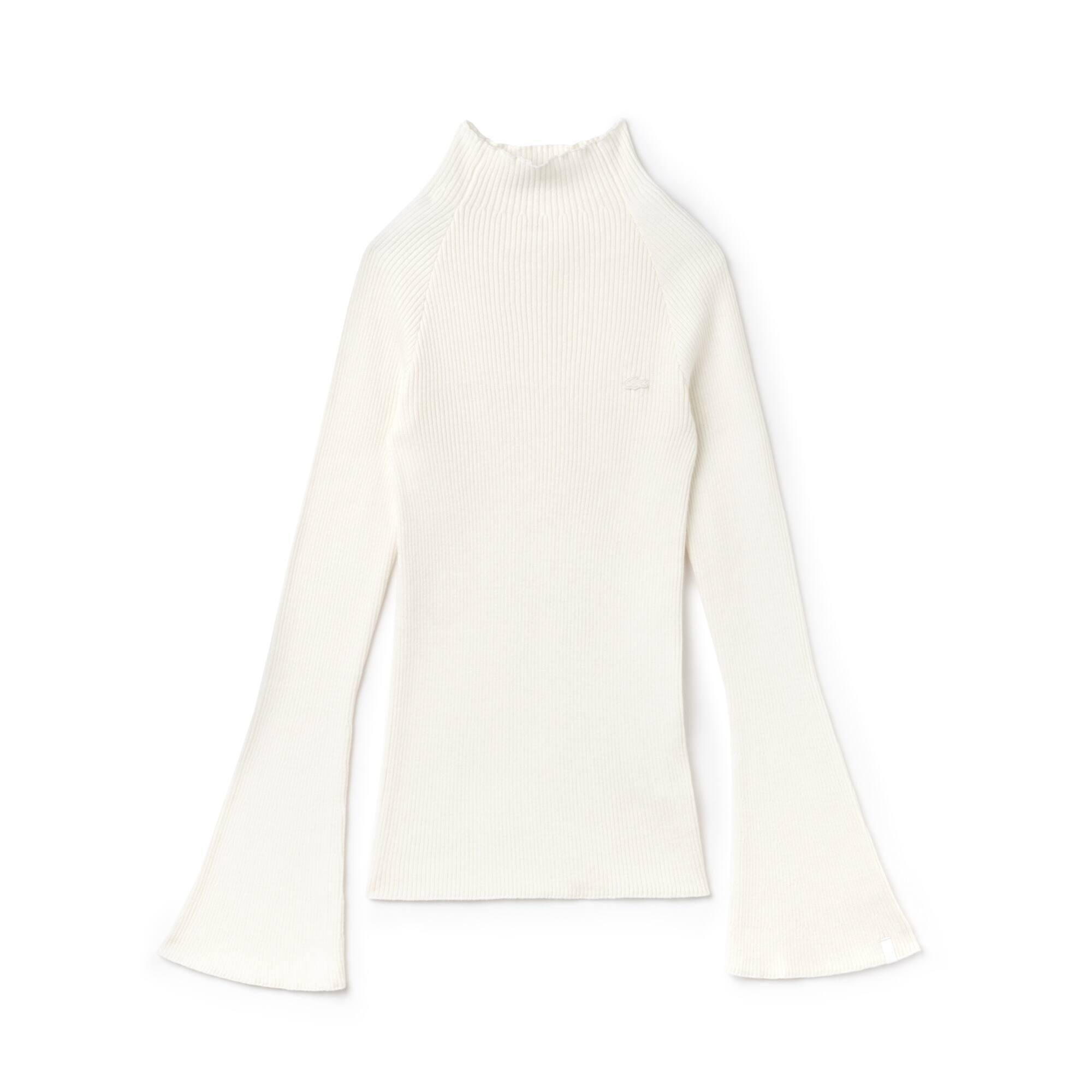 Camisola com gola subida Lacoste LIVE em canelado de algodão e caxemira