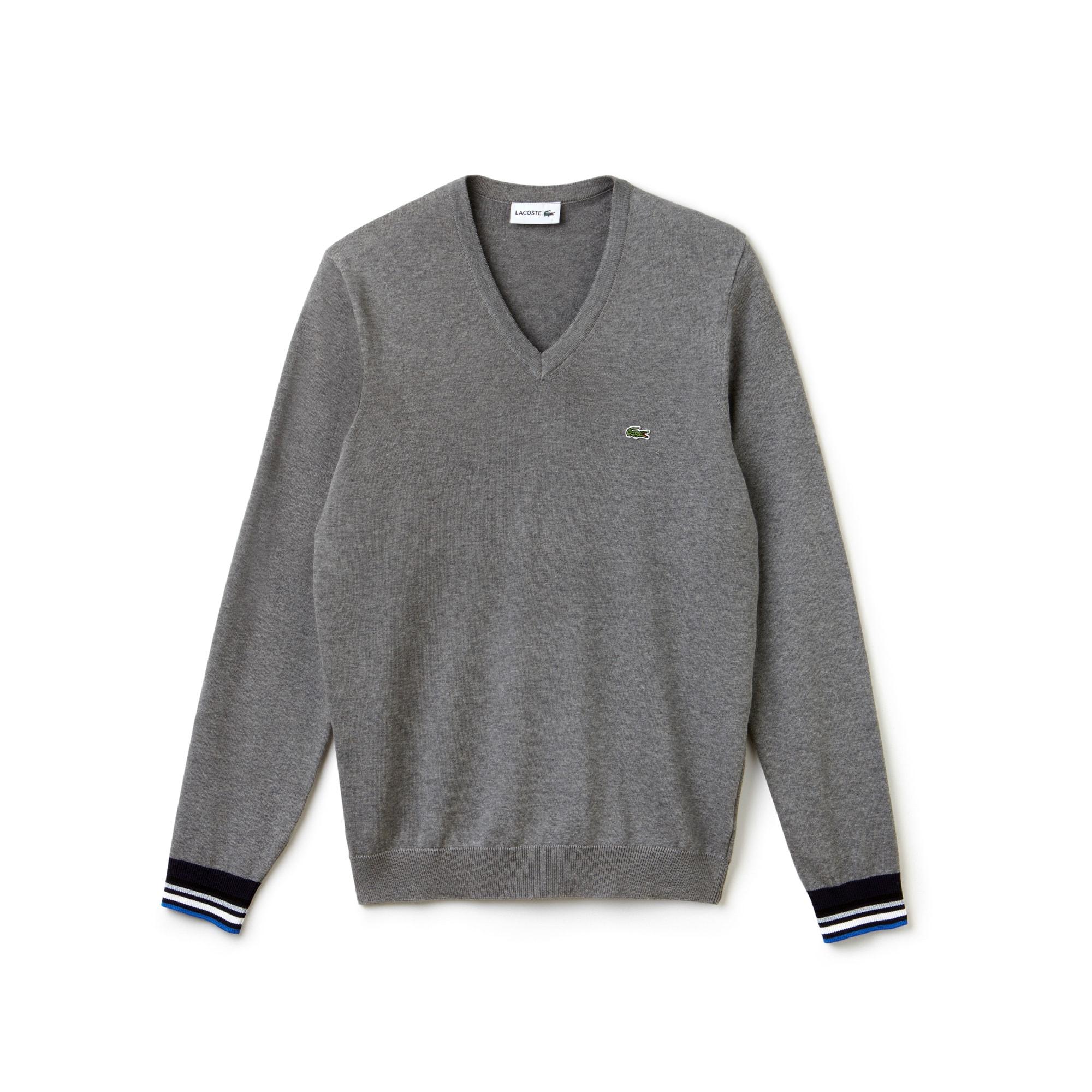 Camisola decote em V em jersey com acabamentos a contrastar