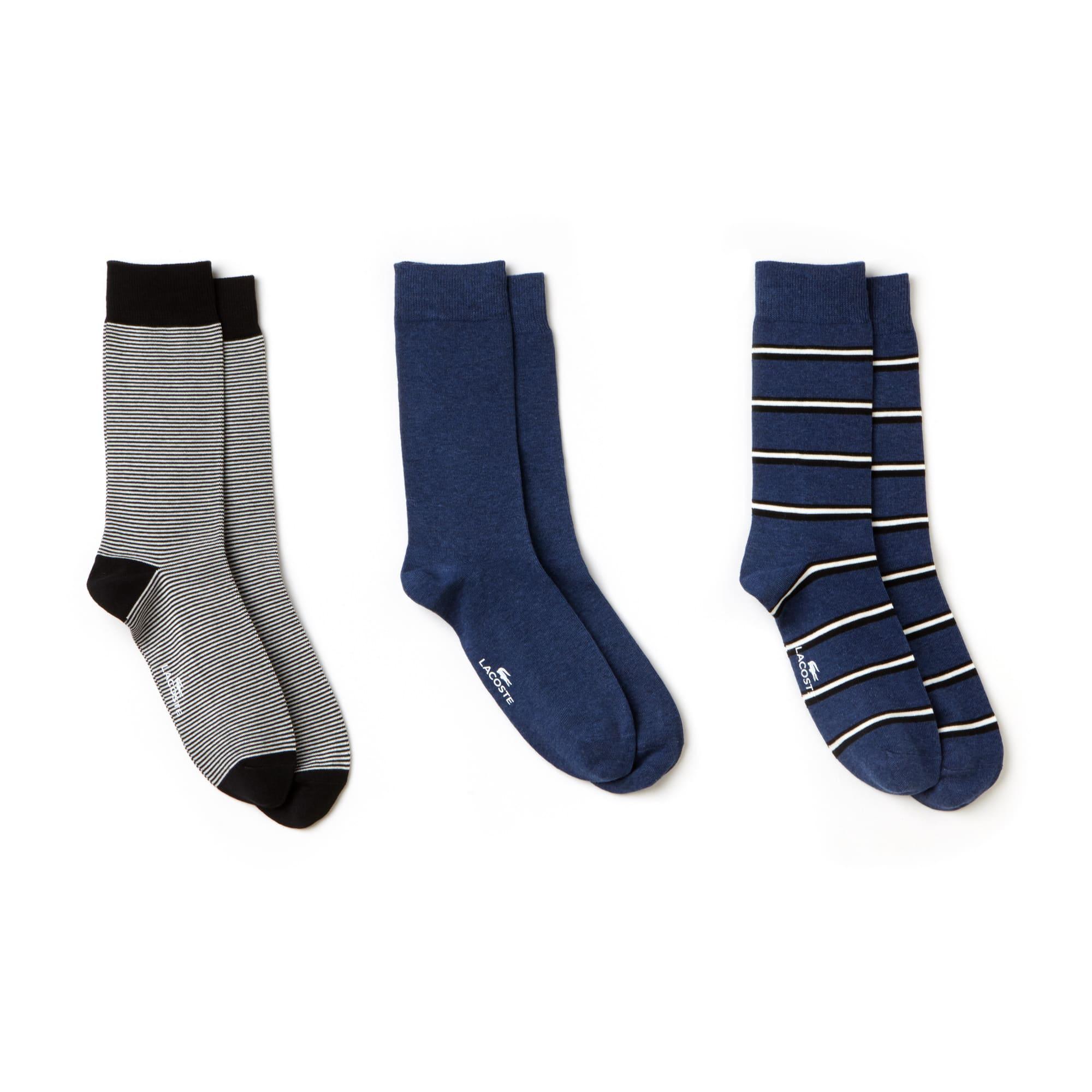 Lote de 3 pares de meias em jersey às riscas e unicolores