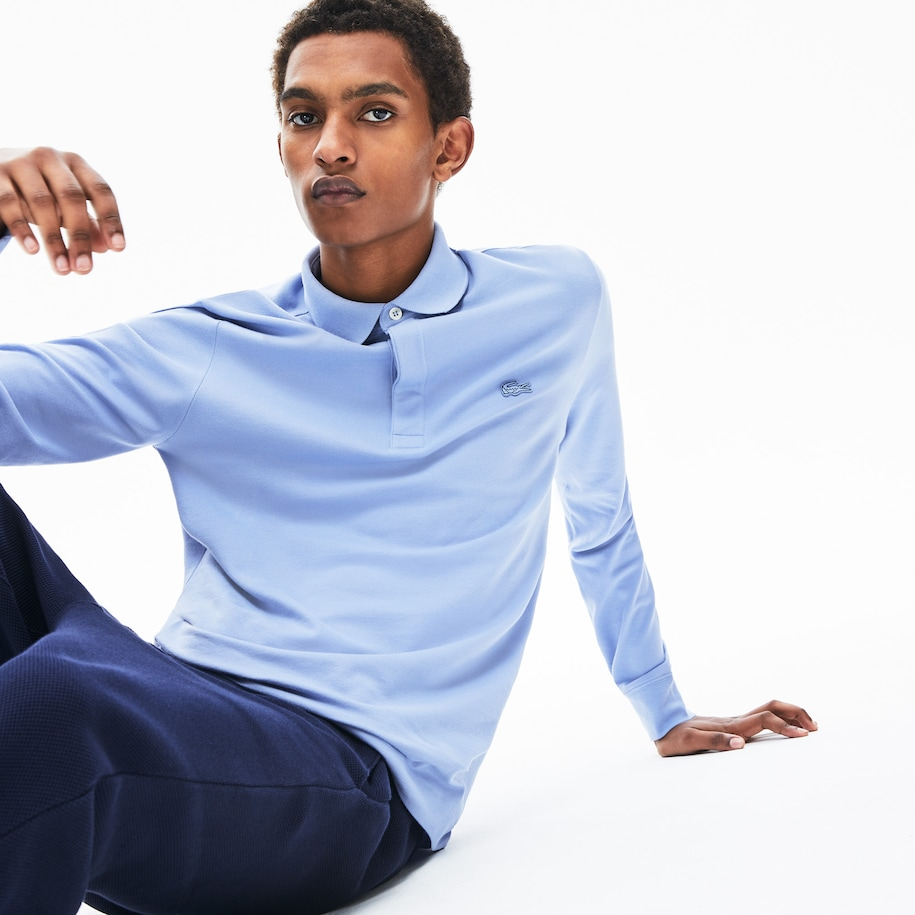 Polo Paris Regular Fit Lacoste de manga comprida em piqué de algodão stretch