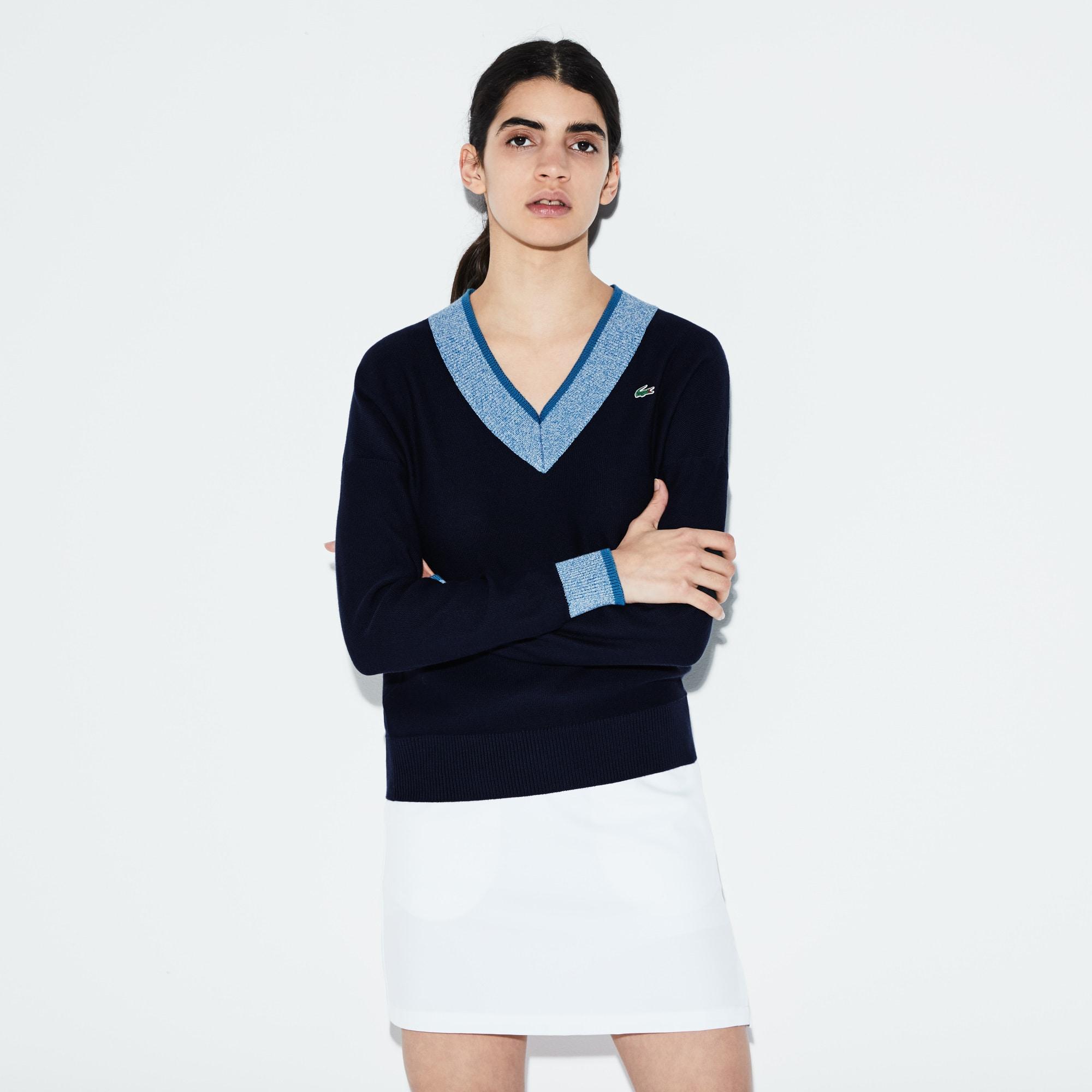 Camisola decote em V Golf Lacoste SPORT em jersey com acabamentos a contrastar