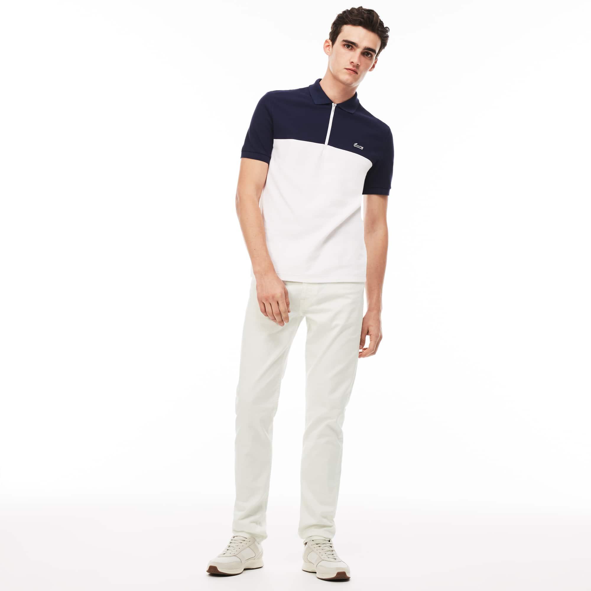 Calças 5 bolsos slim fit em twill de algodão stretch unicolor