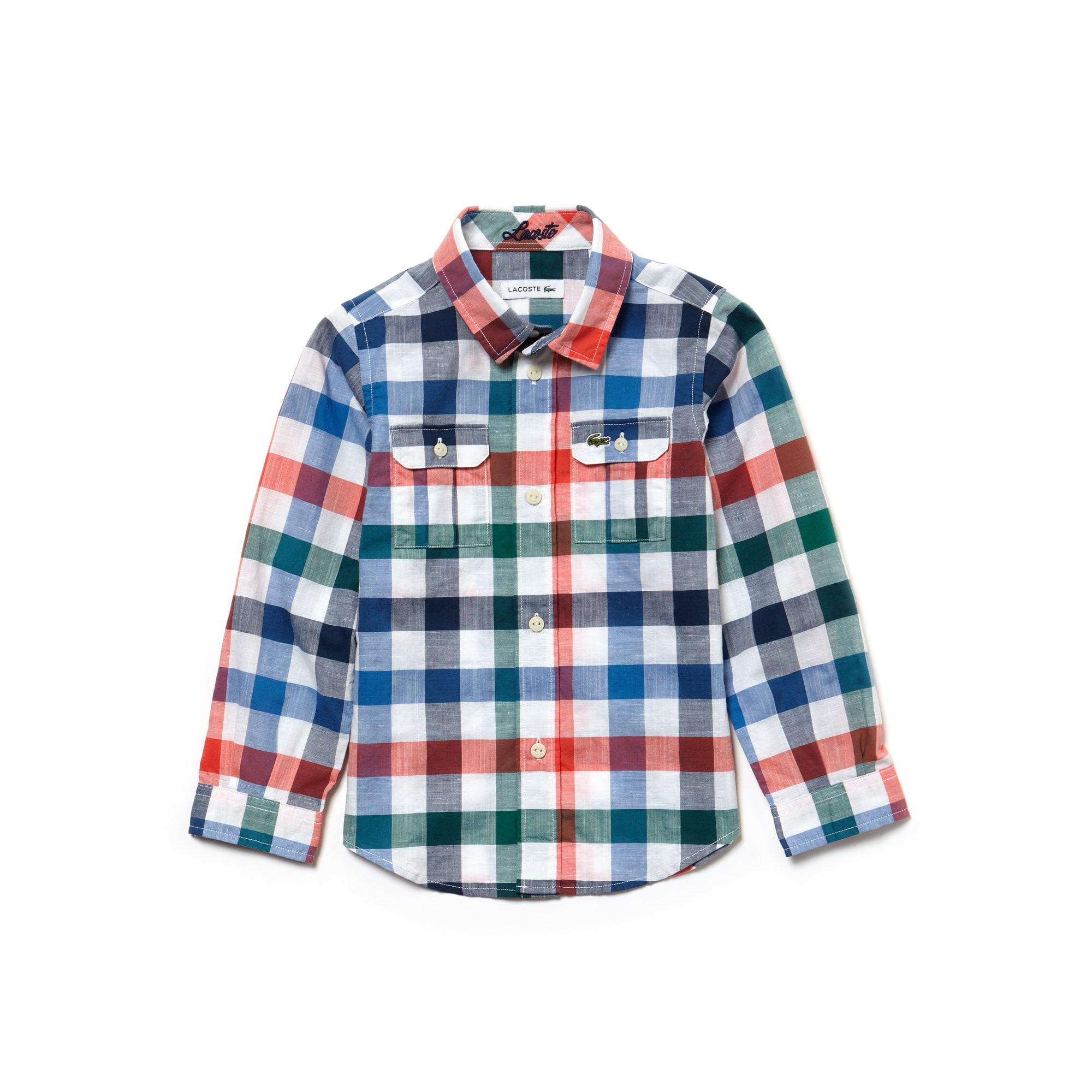 Camisa Menino em popelina de algodão e linho aos quadrados