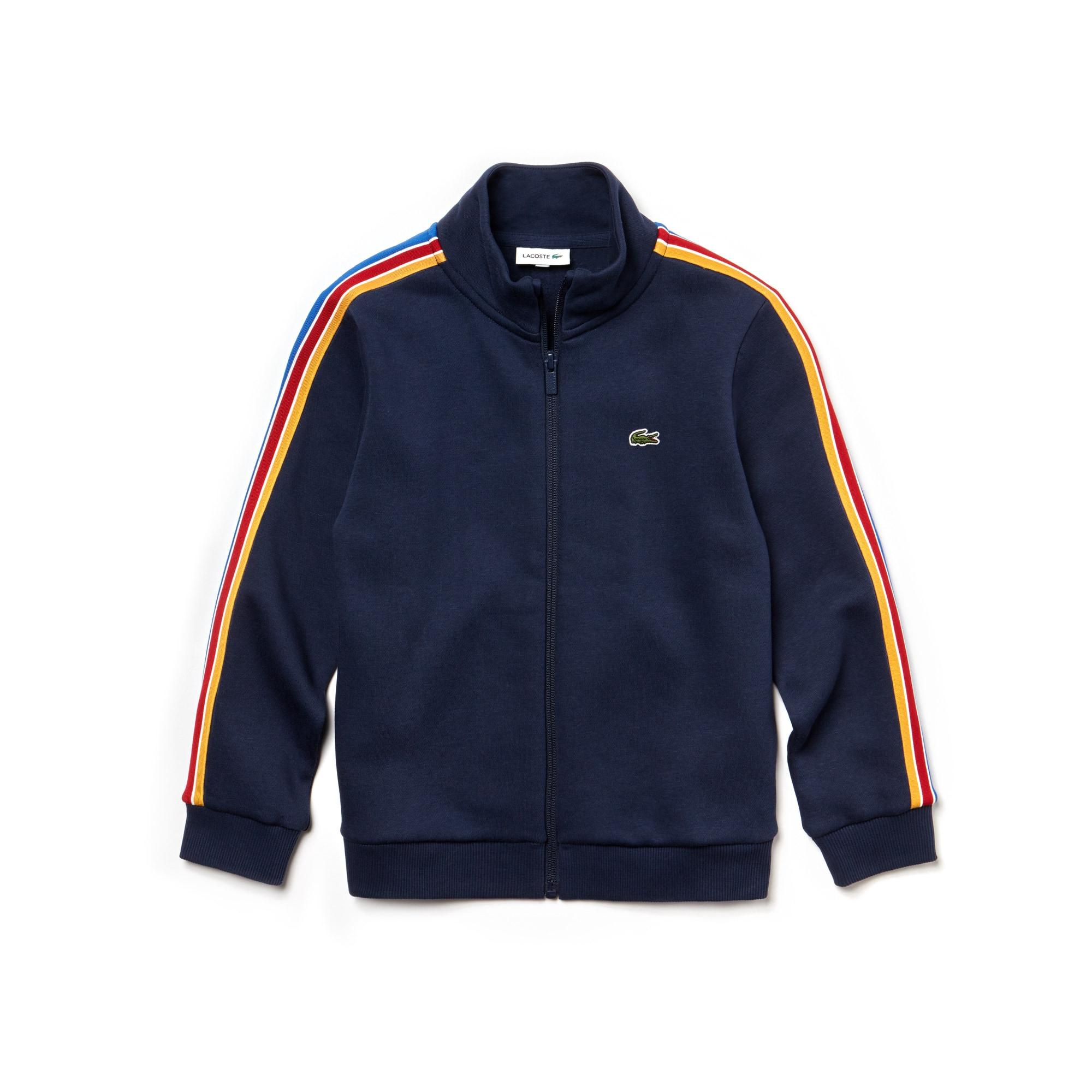 Sweatshirt Menino com fecho de correr e gola subida em moletão com faixas coloridas