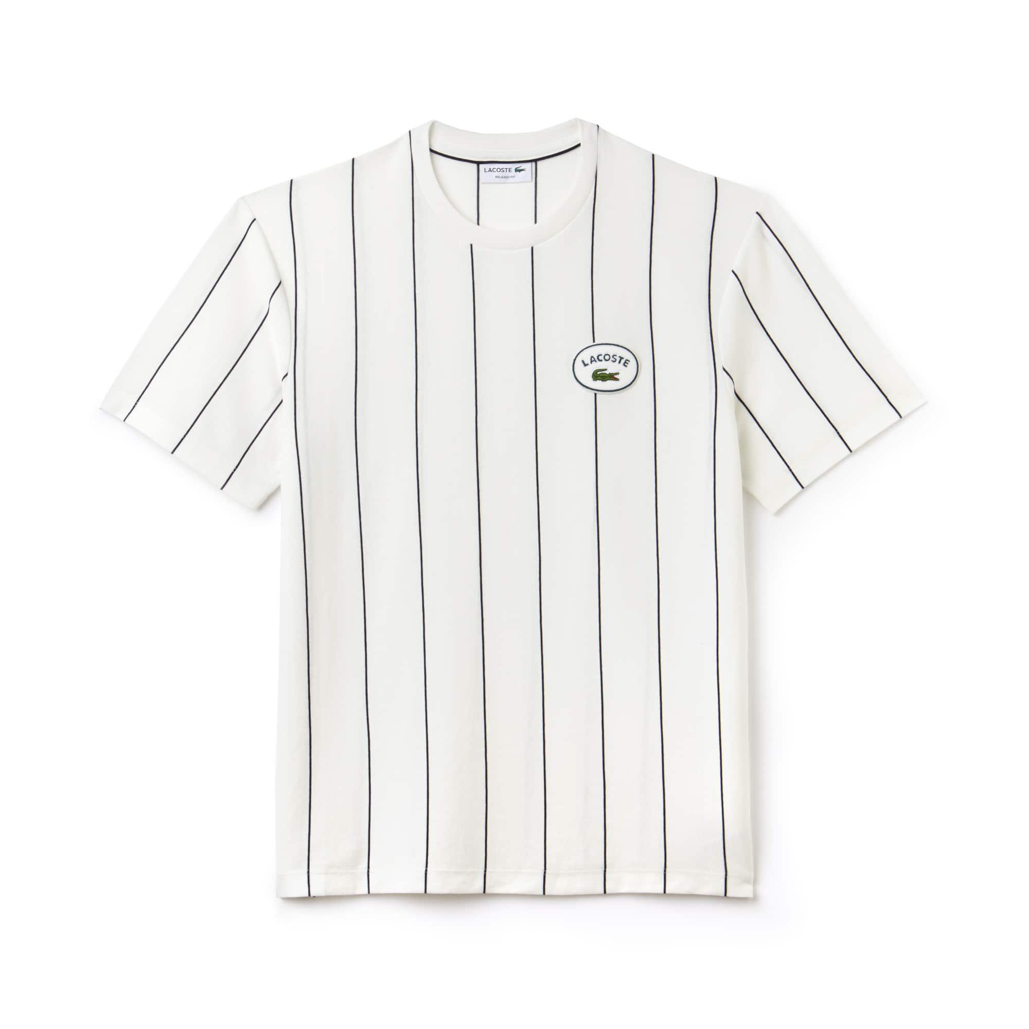 T-shirt decote redondo em jersey de algodão às riscas verticais