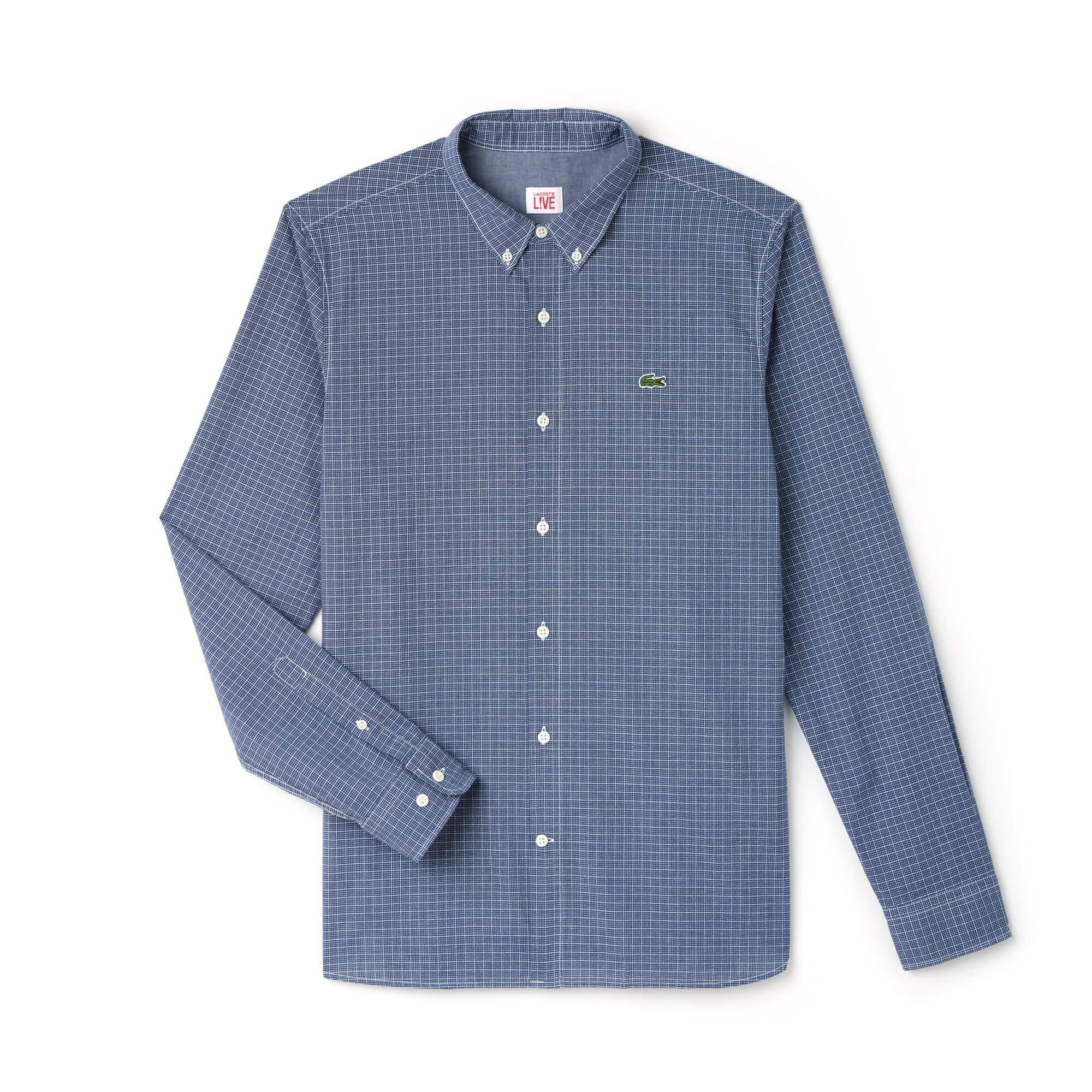 Camisa slim fit Lacoste LIVE em fil-à-fil de algodão aos quadrados