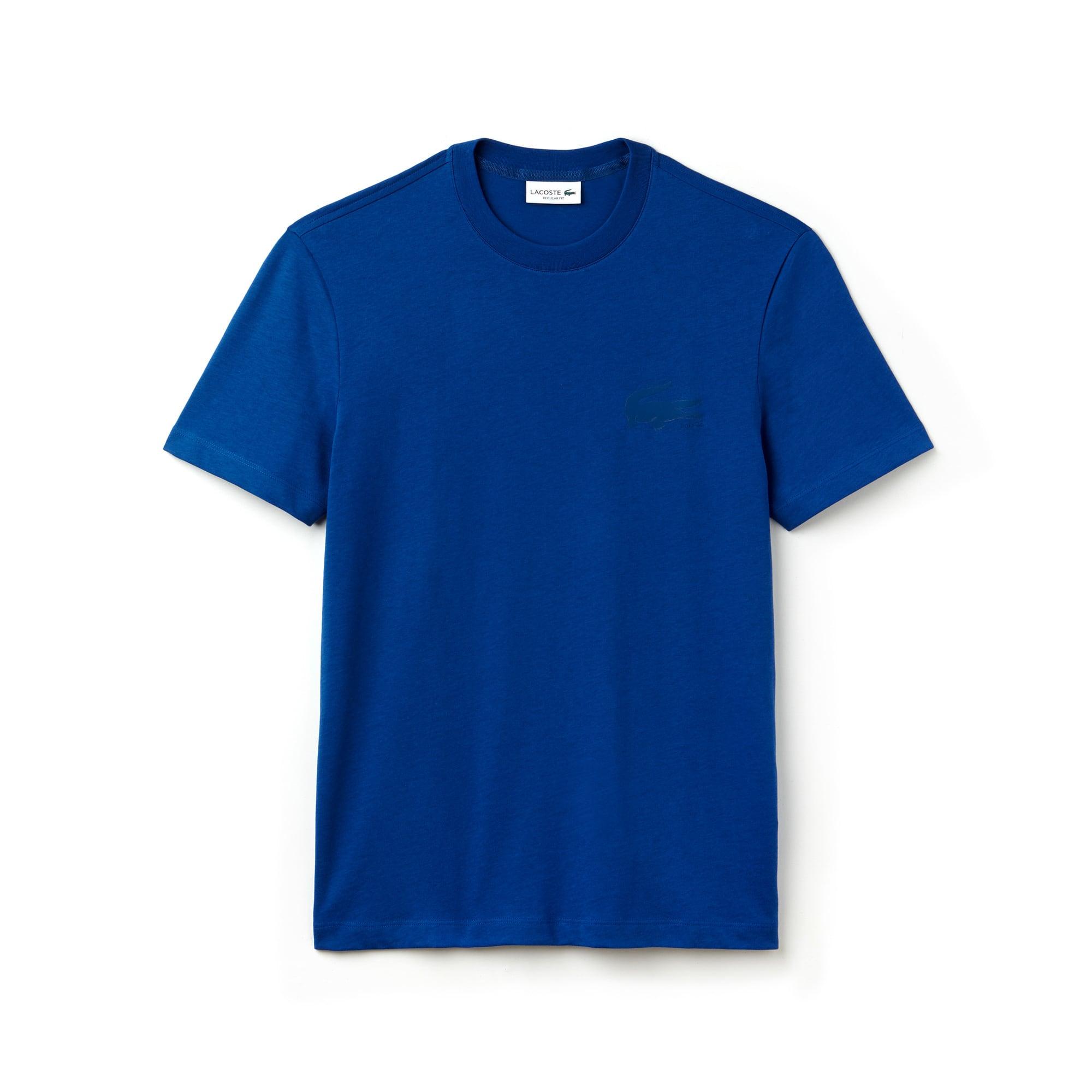 T-shirt decote redondo em jersey de algodão unicolor com marcação crocodilo